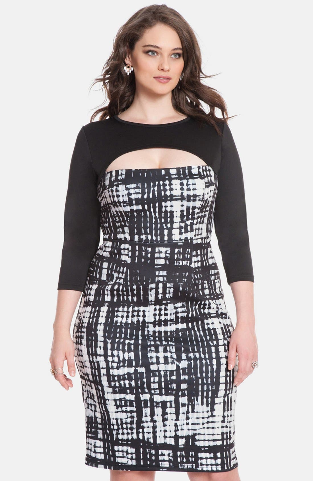 Main Image - ELOQUII Print Block Cutout Dress (Plus Size)