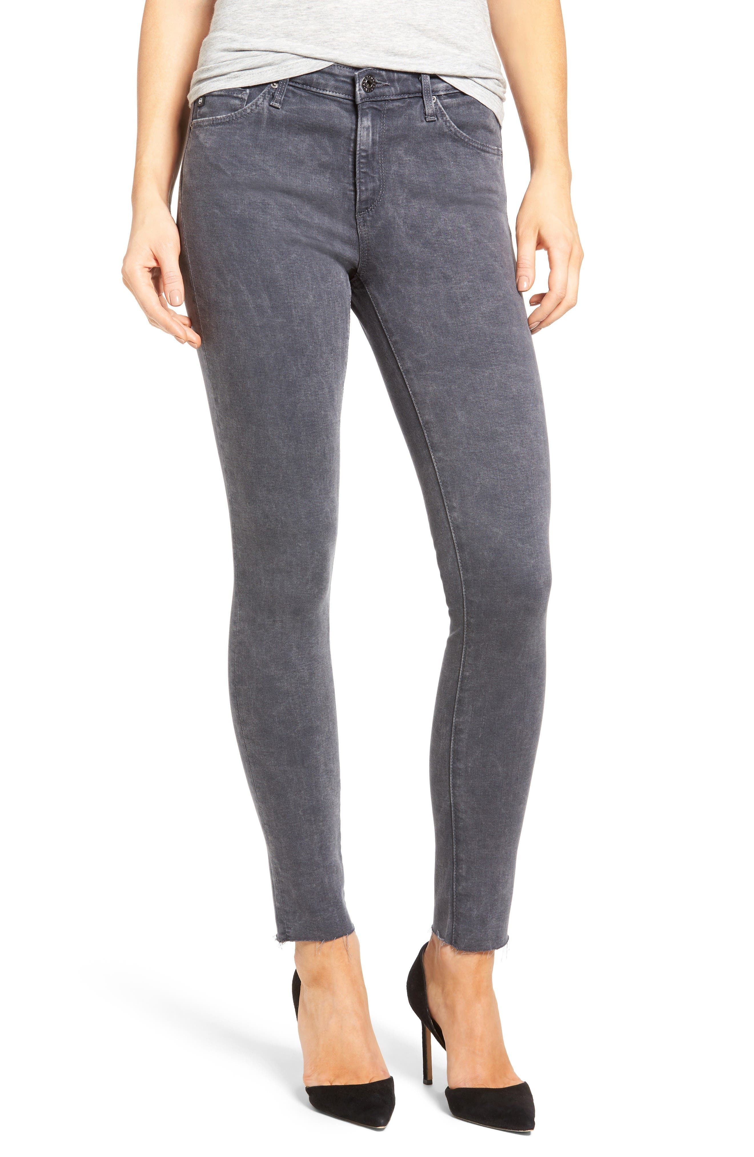 Alternate Image 1 Selected - AG Middi Ankle Skinny Jeans (Erosion)