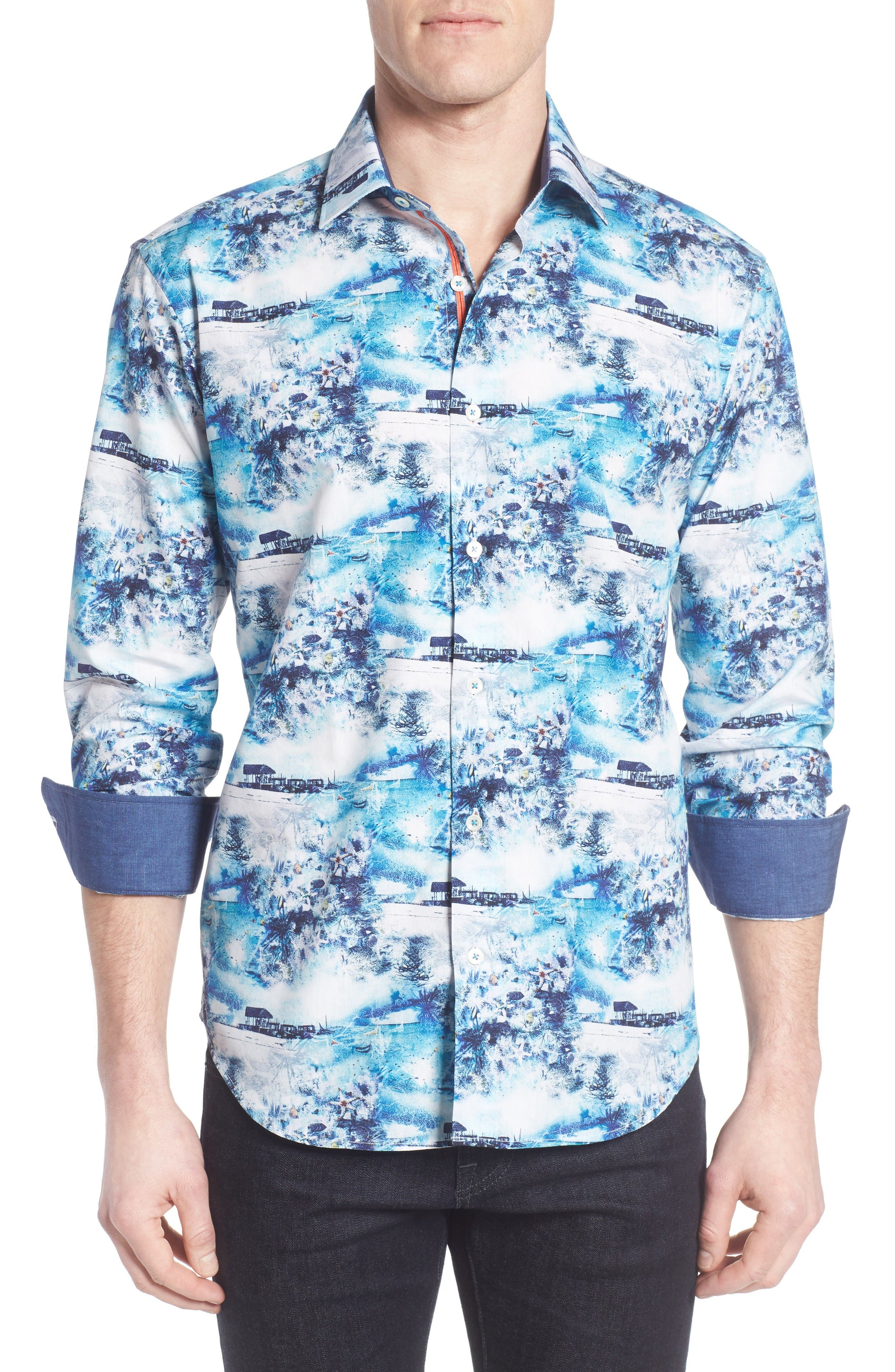 Shaped Fit Ocean Print Sport Shirt,                         Main,                         color, Turquoise