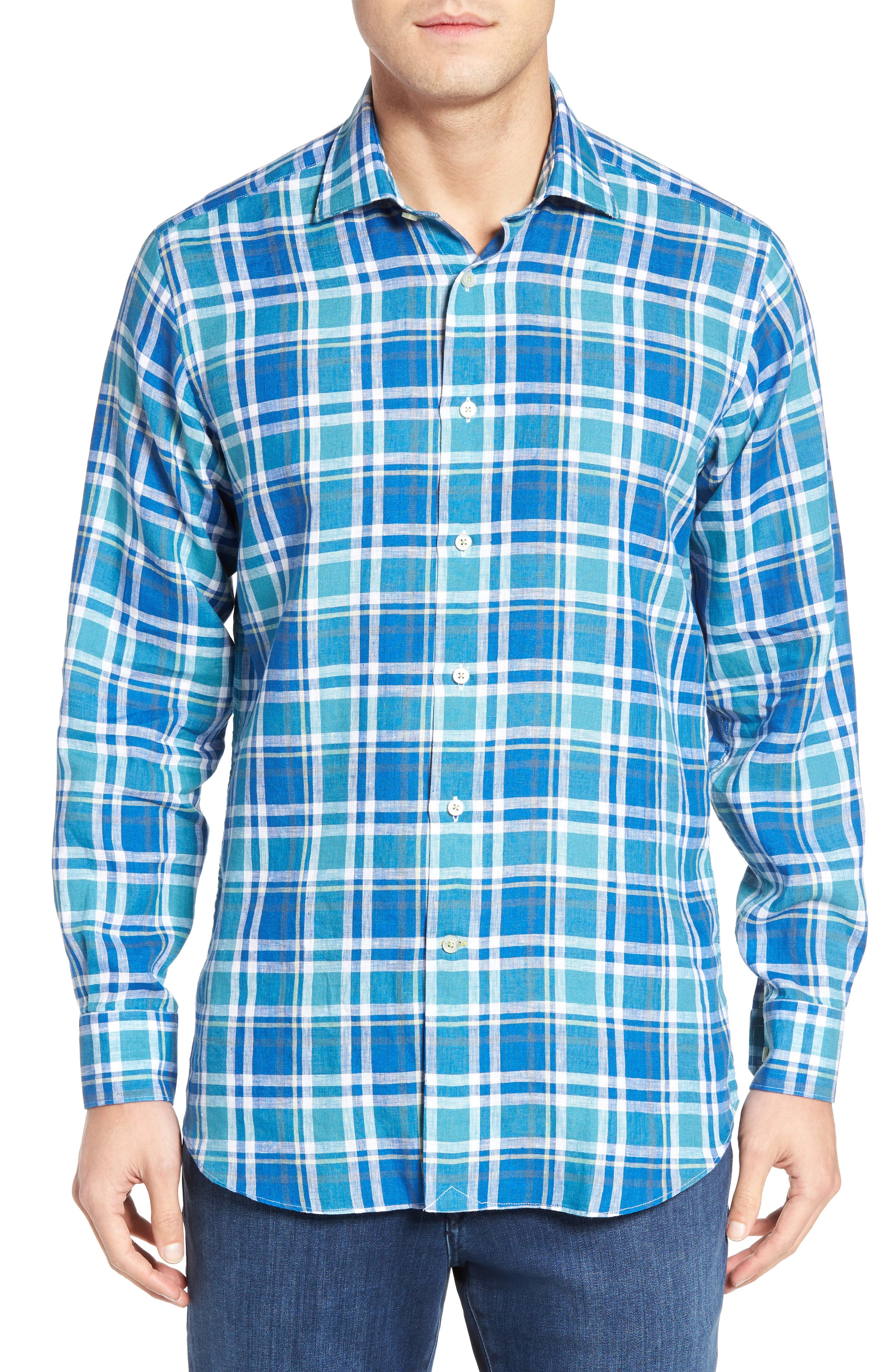 Crespi IV Tailored Fit Sport Shirt,                             Main thumbnail 1, color,                             Teal