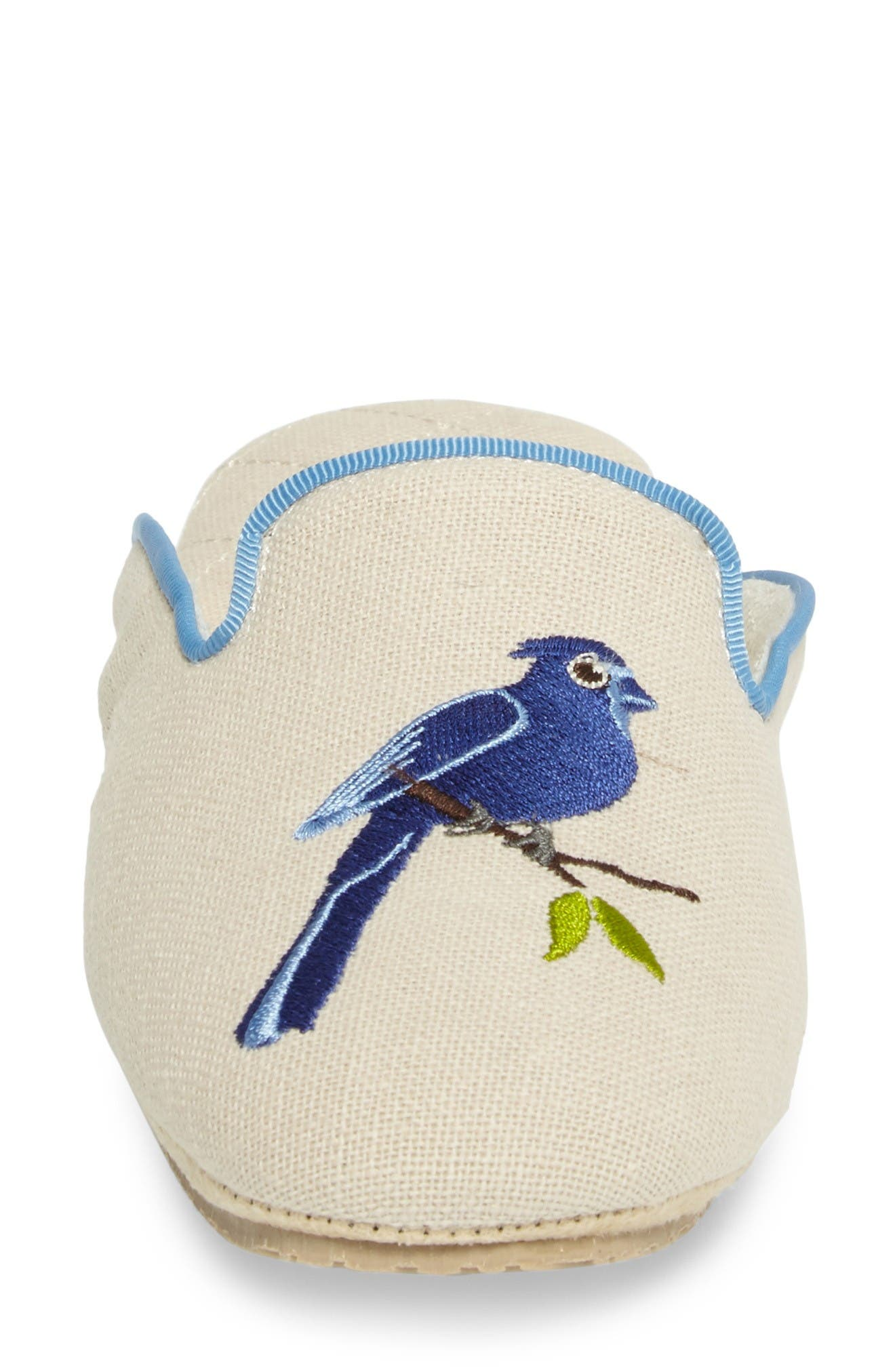 Bluebird Embroidered Slipper,                             Alternate thumbnail 4, color,                             Natural Fabric