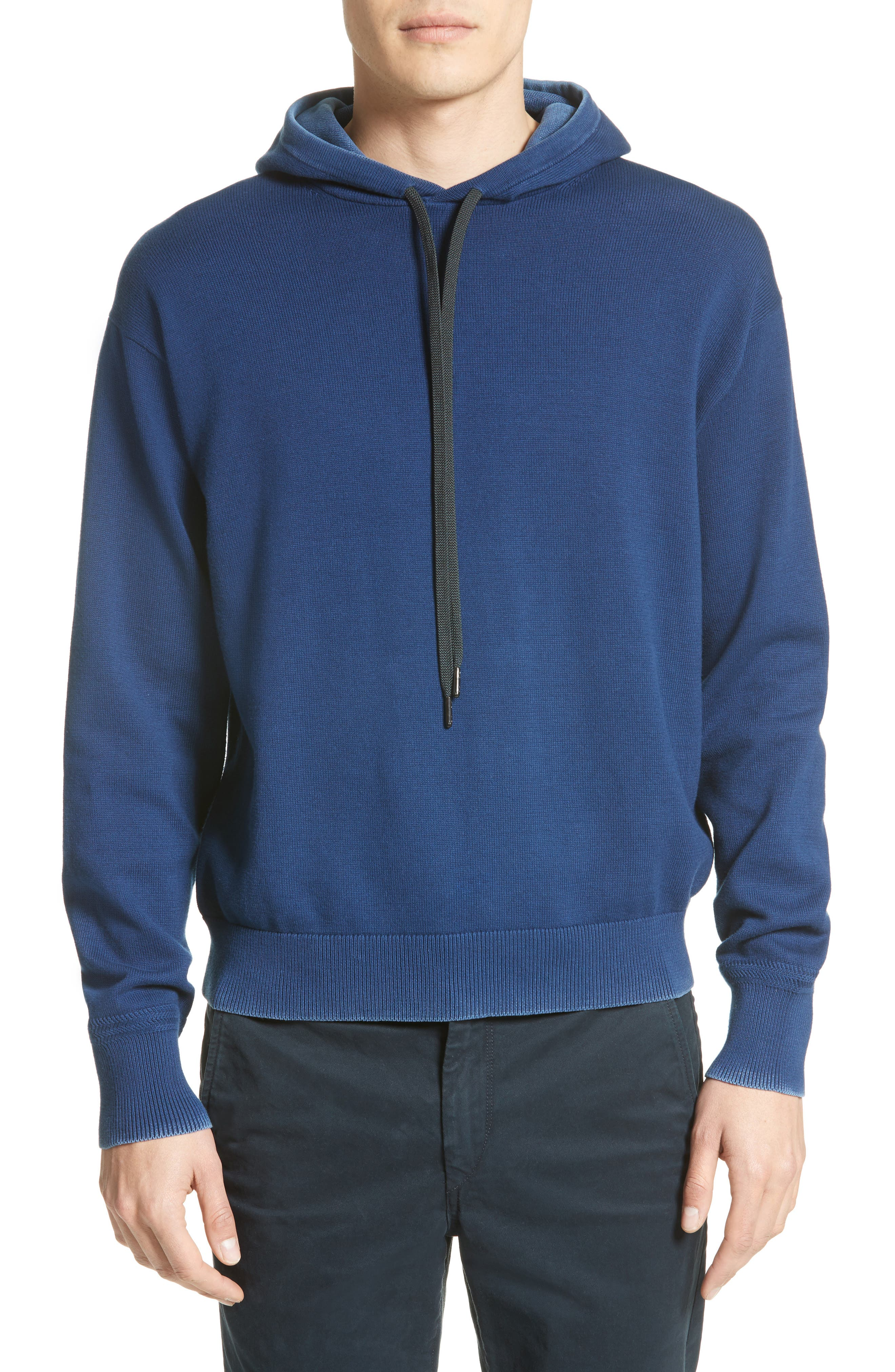 Damon Knit Hoodie,                         Main,                         color, Navy