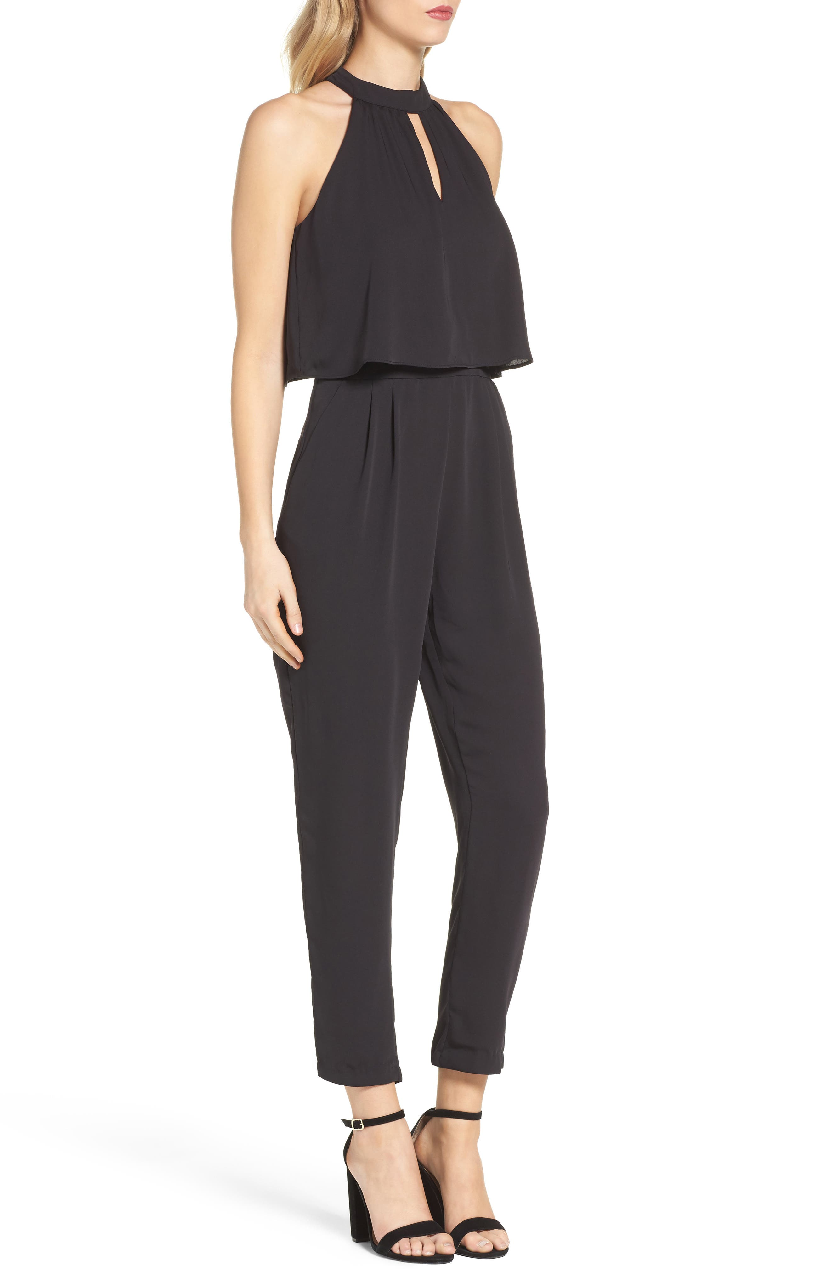 Nayden Popover Jumpsuit,                             Alternate thumbnail 3, color,                             Black