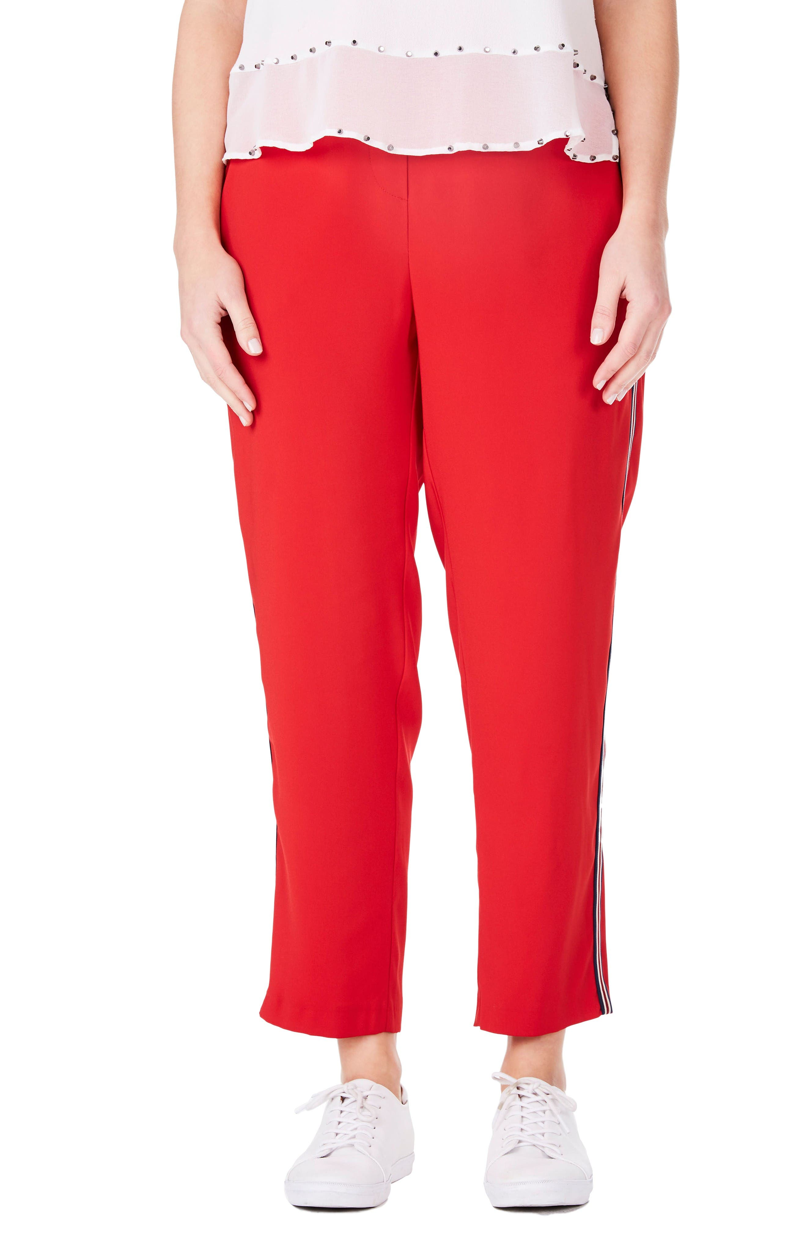 Side Stripe Ankle Pants,                         Main,                         color, Red