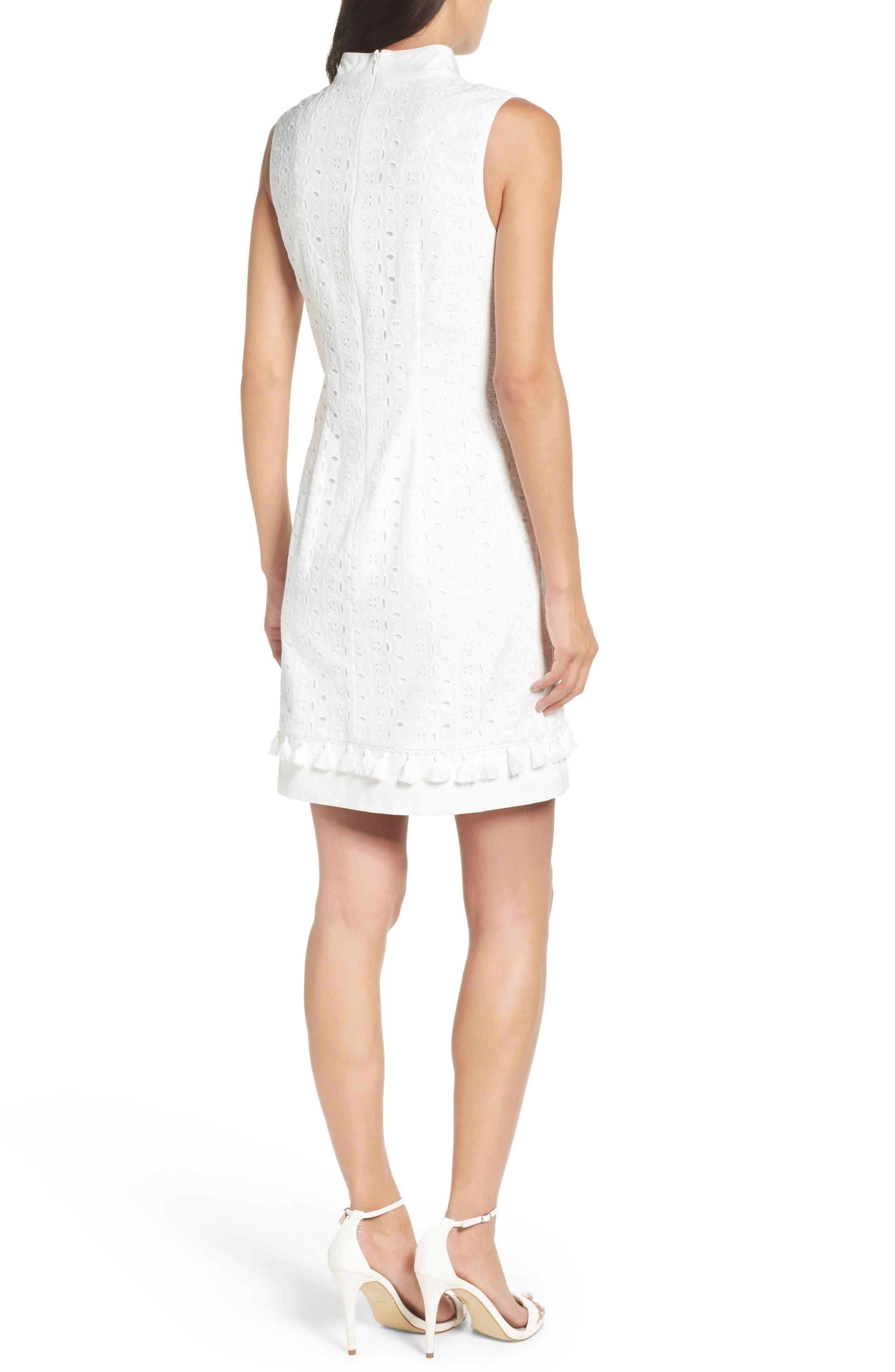 Mandarin Collar Shift Dress,                             Alternate thumbnail 2, color,                             White