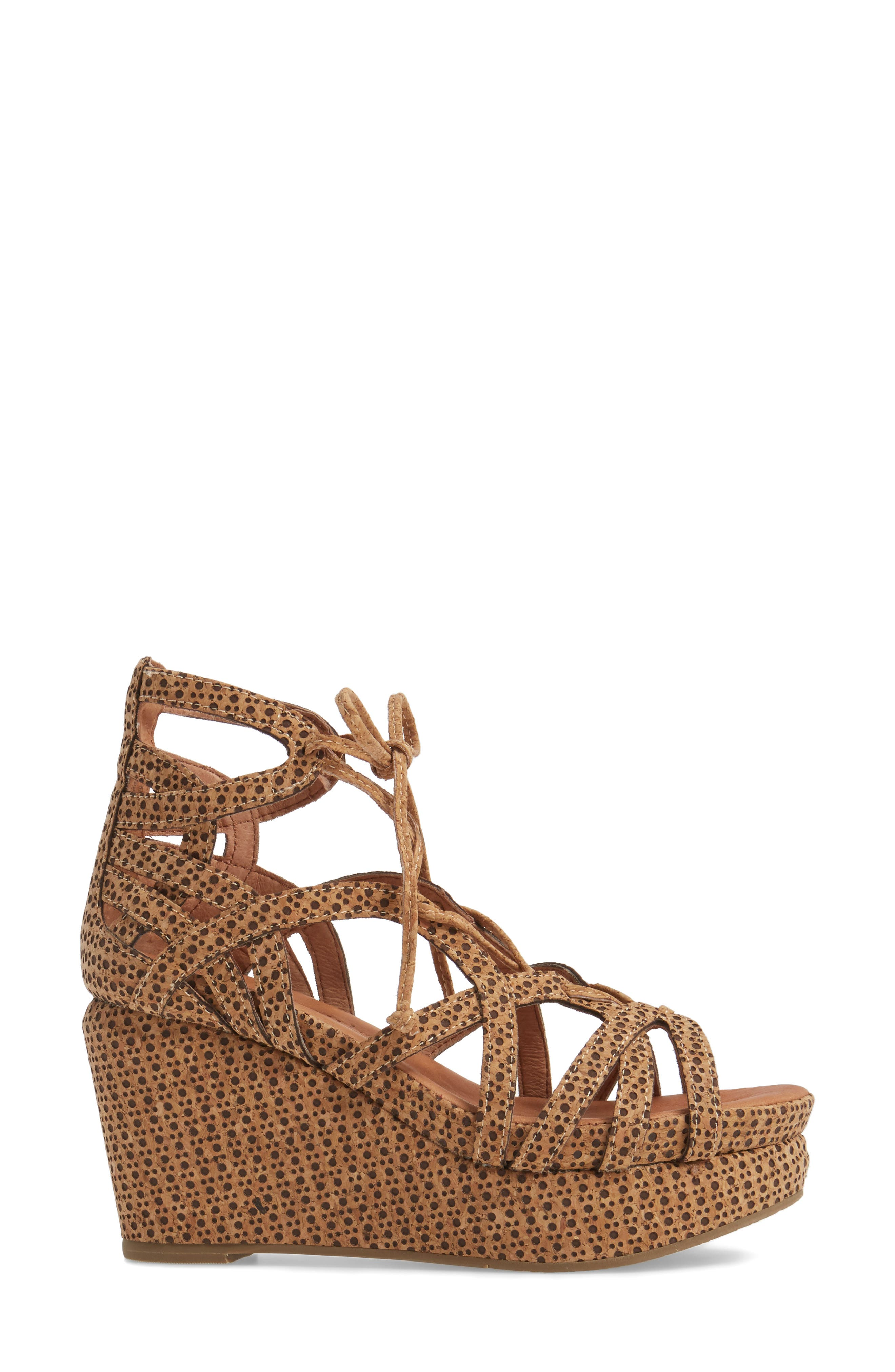 by Kenneth Cole 'Joy' Lace Up Nubuck Sandal,                             Alternate thumbnail 3, color,                             Natural Combo
