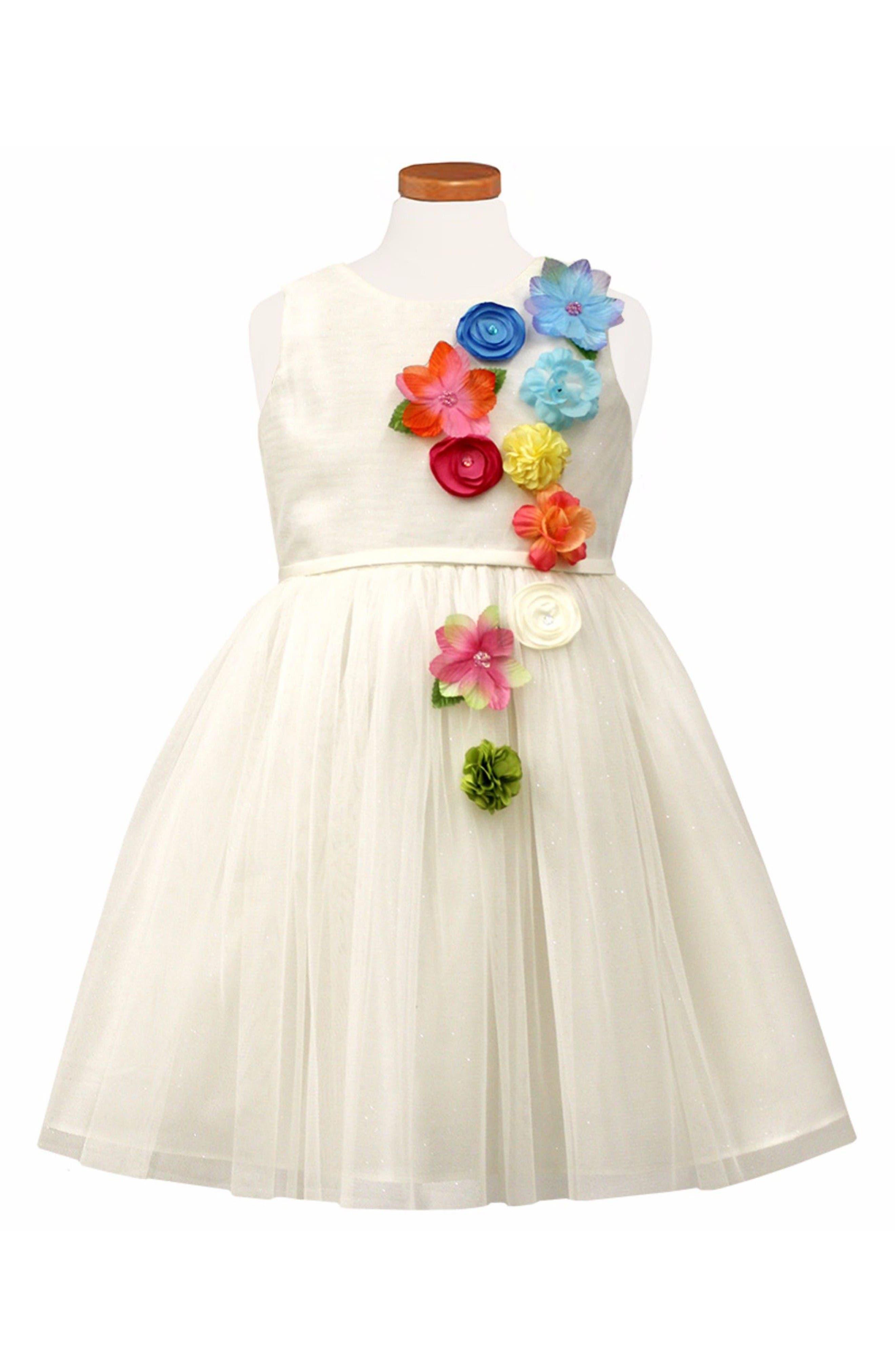 Flower Appliqué Tulle Party Dress,                             Main thumbnail 1, color,                             White