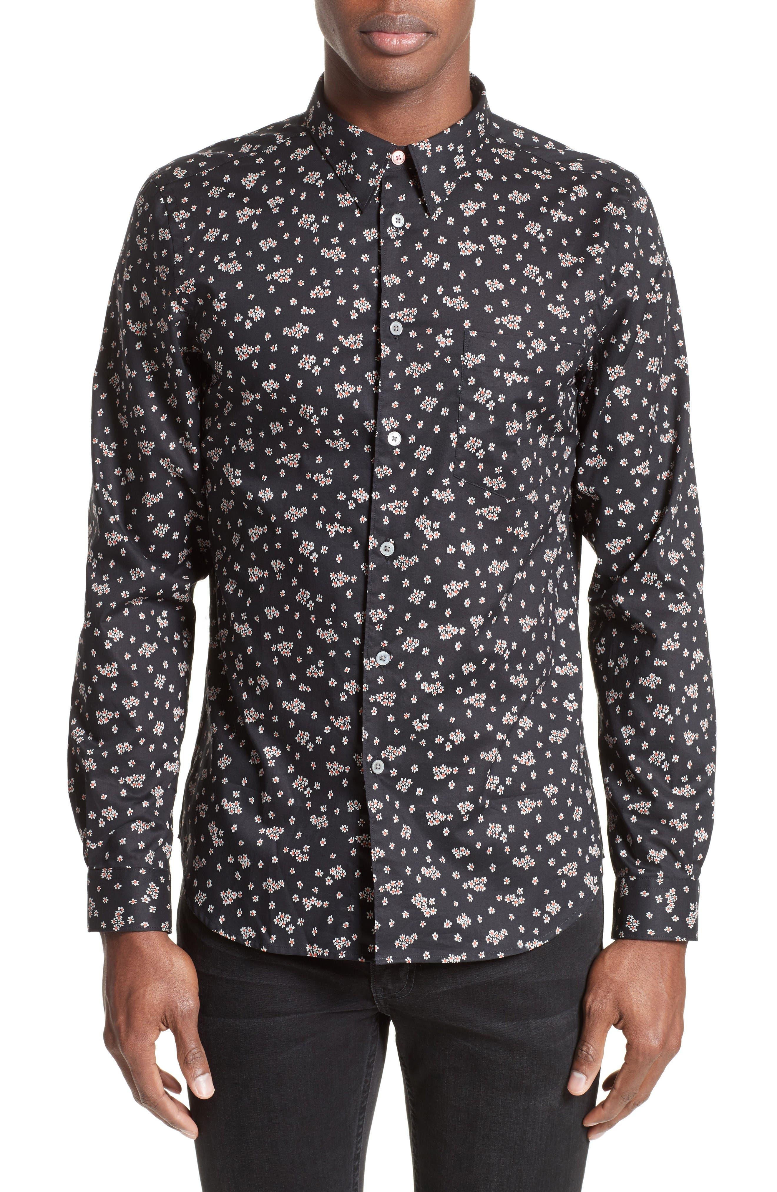 PS Paul Smith Extra Trim Fit Mini Daisy Print Sport Shirt