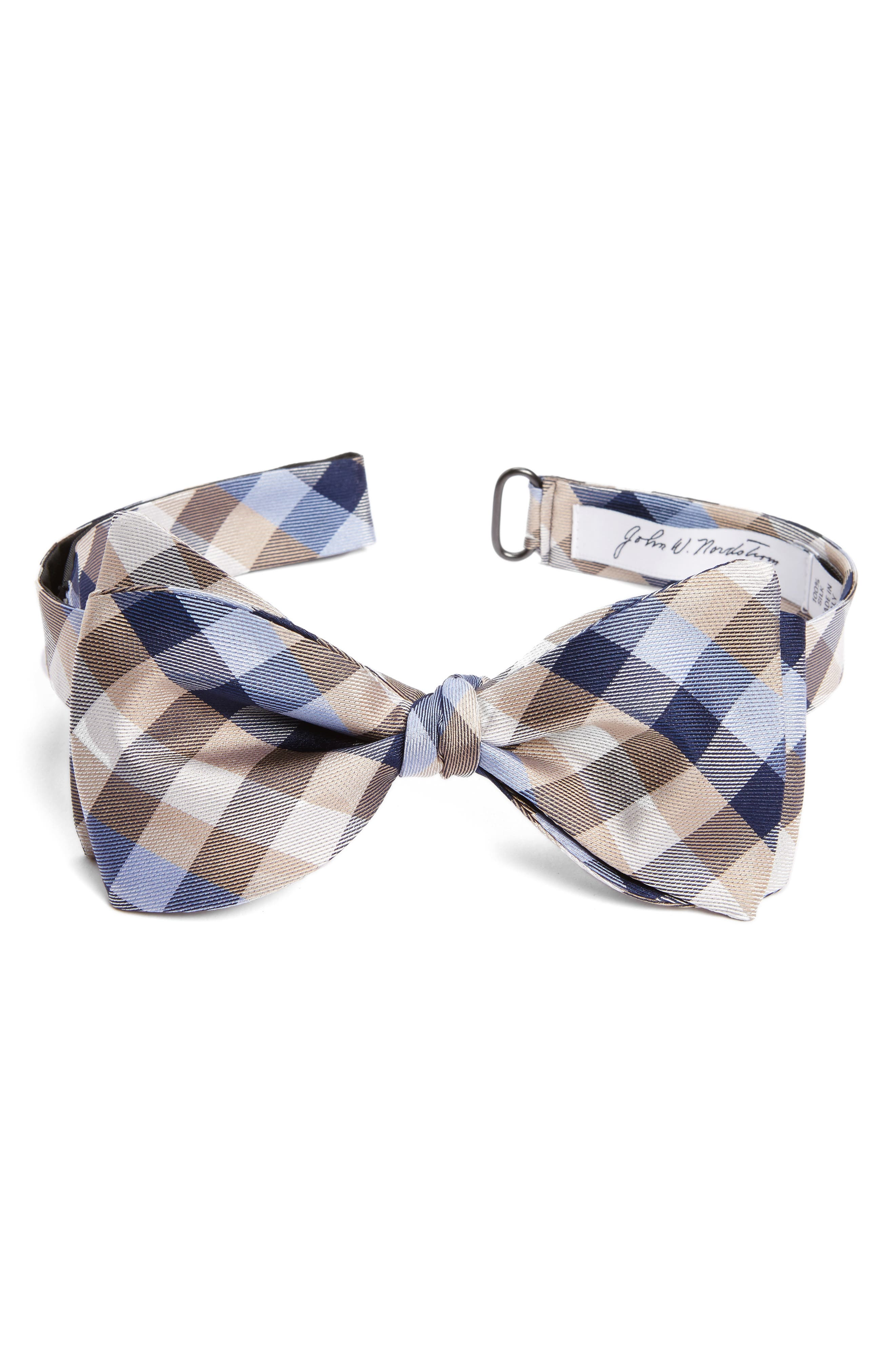 Check Silk Bow Tie,                         Main,                         color, Taupe