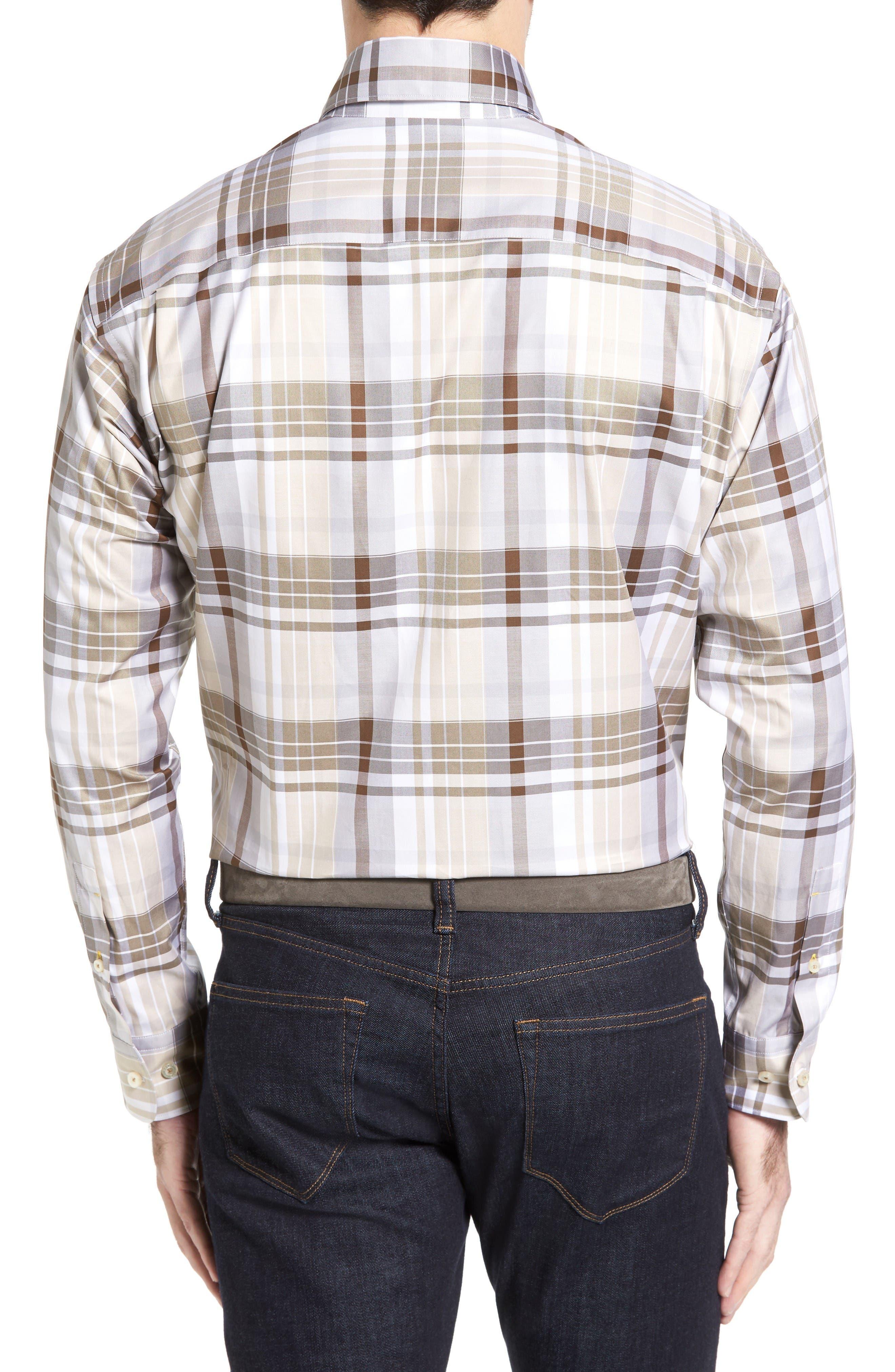 Anderson Classic Fit Plaid Micro Twill Sport Shirt,                             Alternate thumbnail 2, color,                             Desert