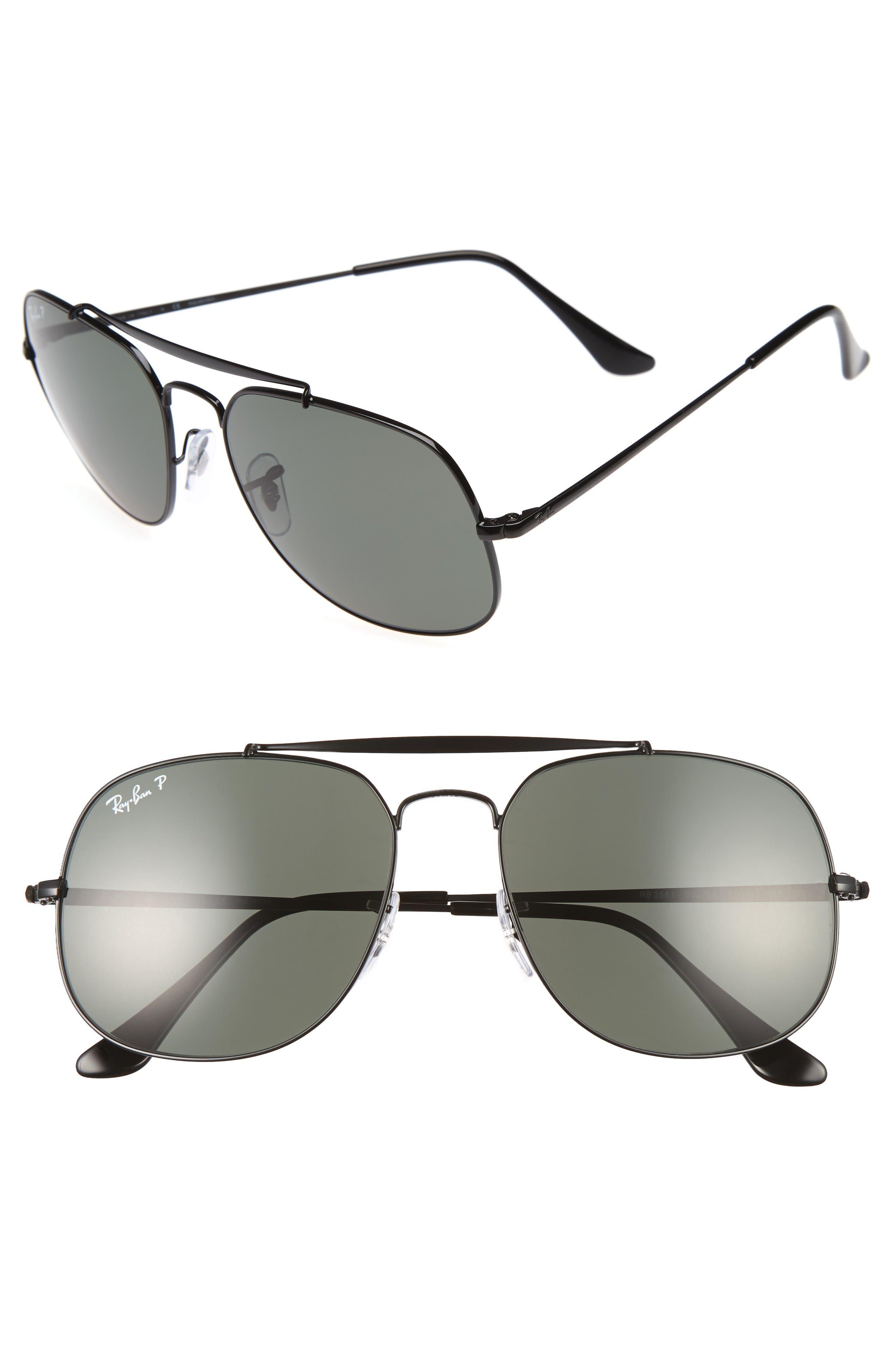 57mm Polarized Aviator Sunglasses,                         Main,                         color, Black/ Polar