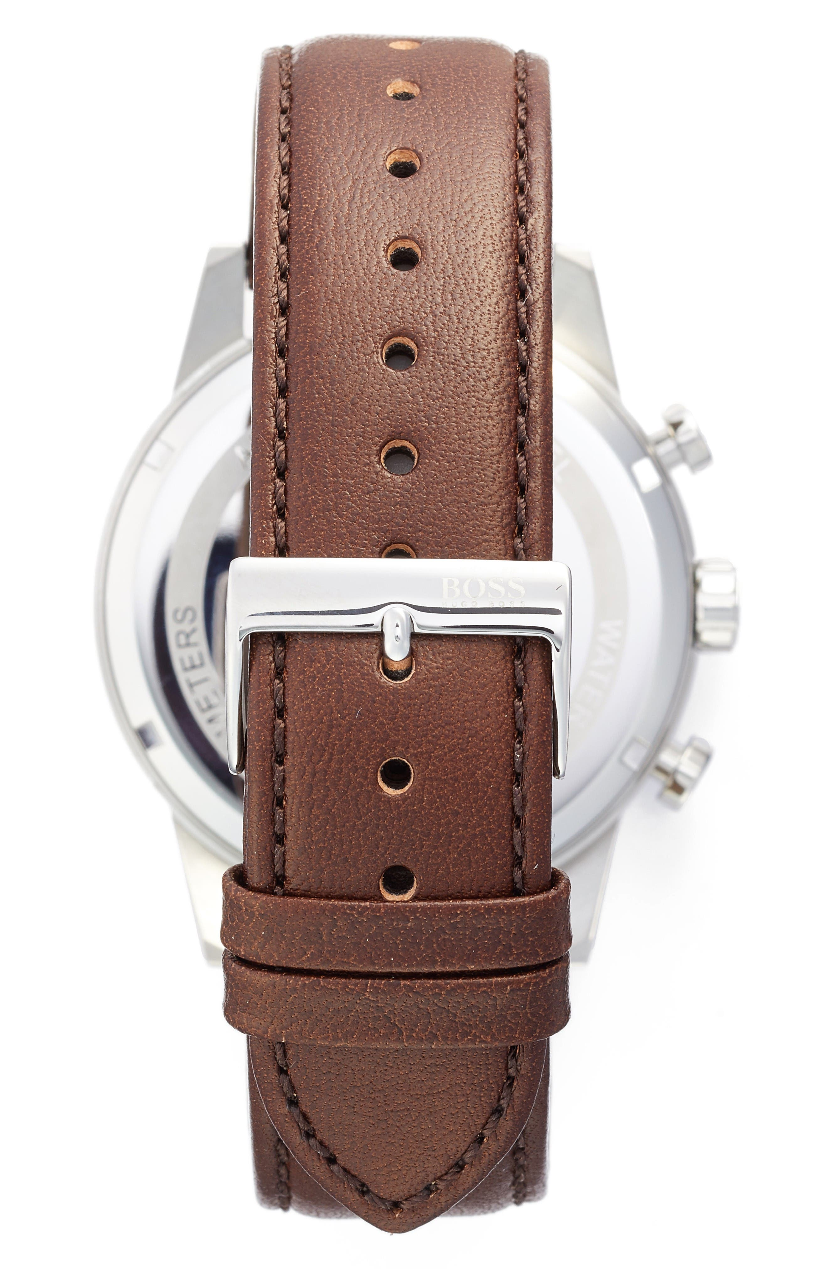 Alternate Image 2  - BOSS Chronograph Leather Strap Watch, 44mm