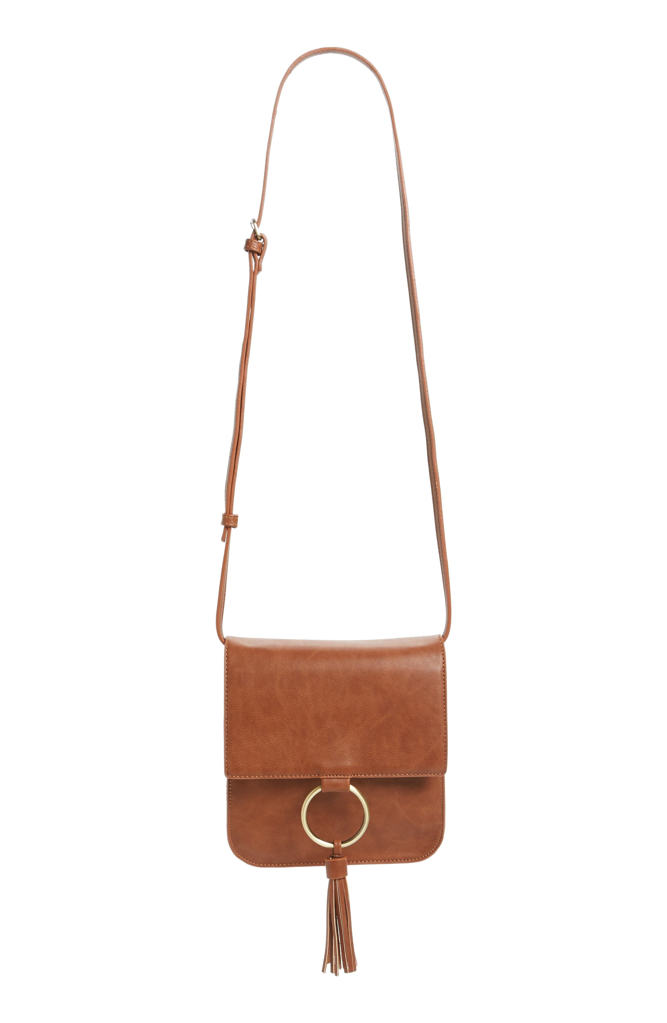 Square Crossbody Bag,                             Main thumbnail 1, color,                             Cognac