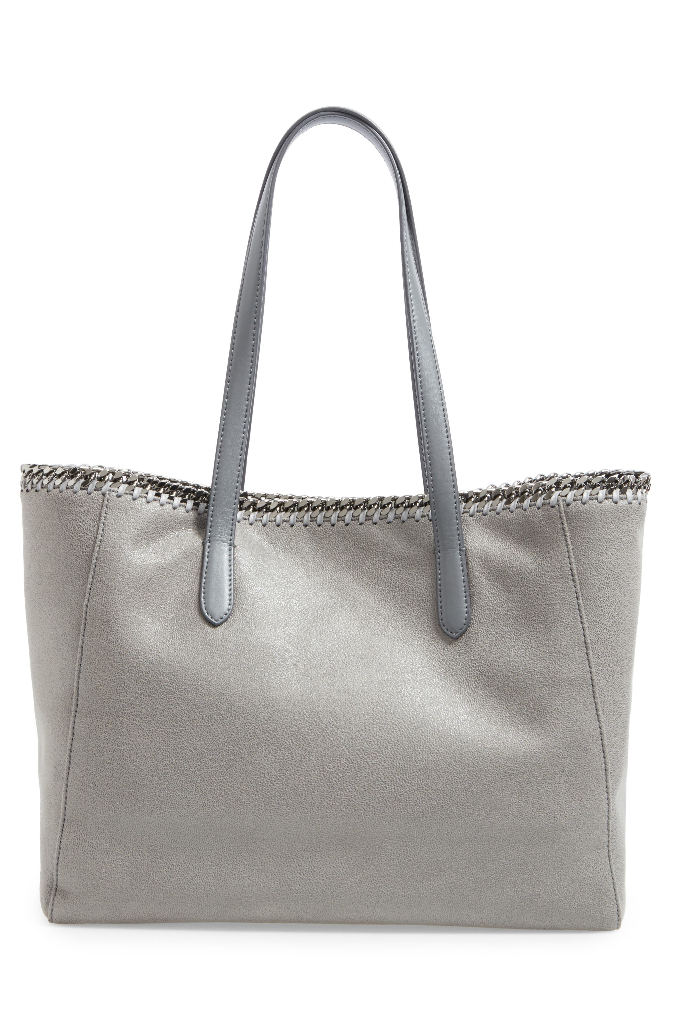'Falabella - Shaggy Deer' Faux Leather Tote,                             Alternate thumbnail 3, color,                             Light Grey
