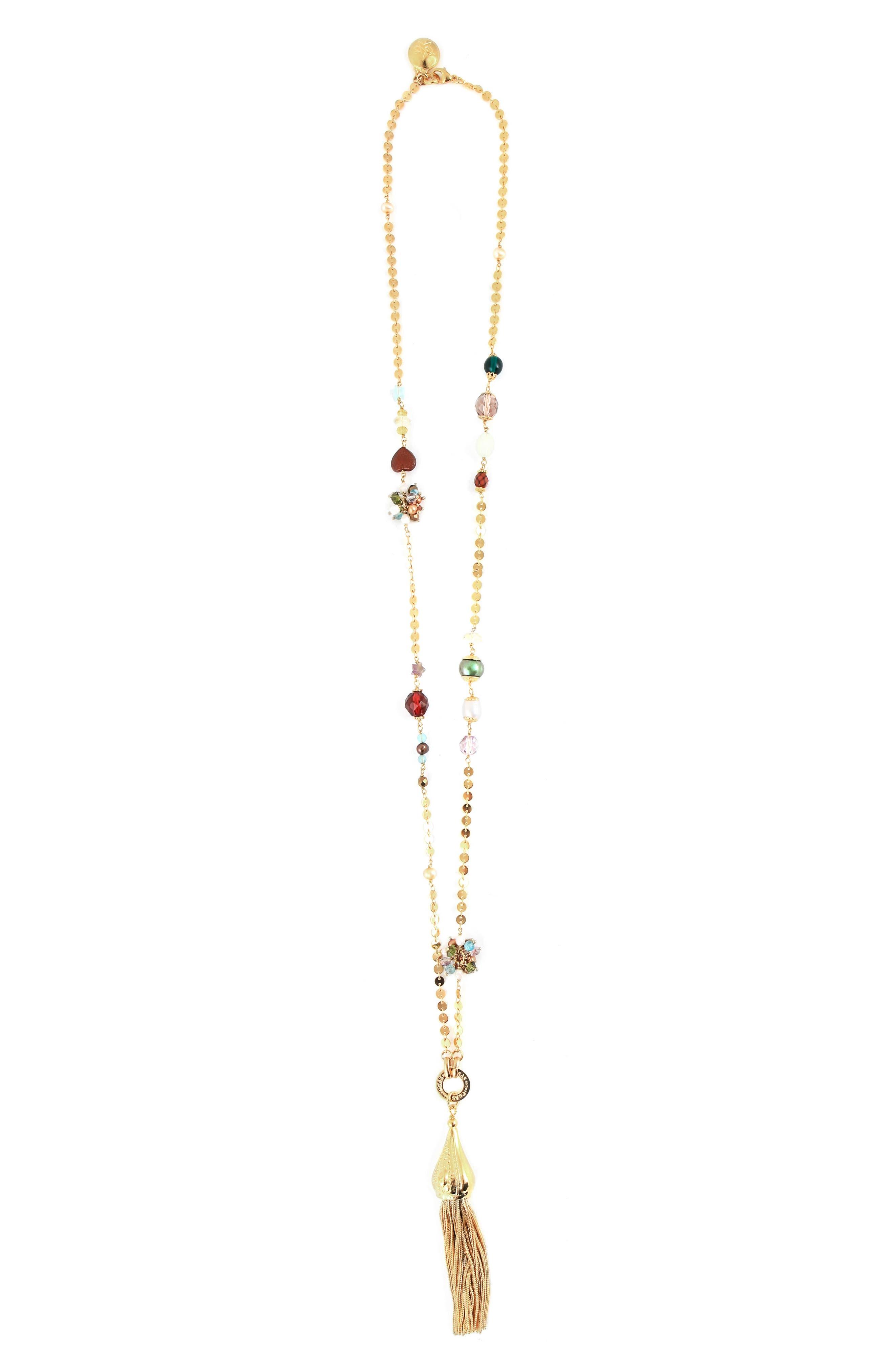 Pompom Tassel Necklace,                         Main,                         color, Gold