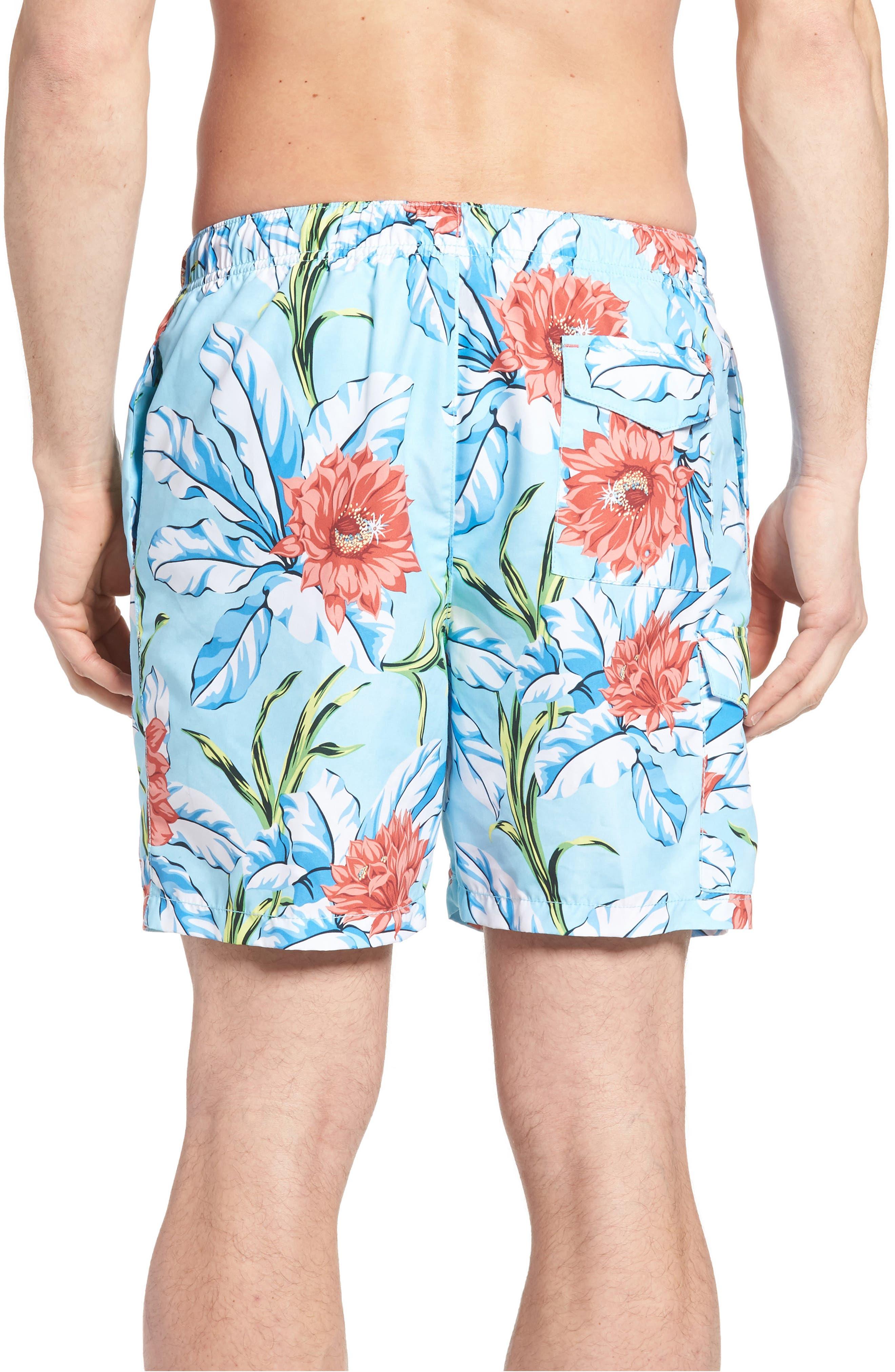 Naples Fira Floral Swim Trunks,                             Alternate thumbnail 2, color,                             Shasta