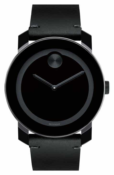 942146641d9 Movado  Bold  Leather Strap Watch