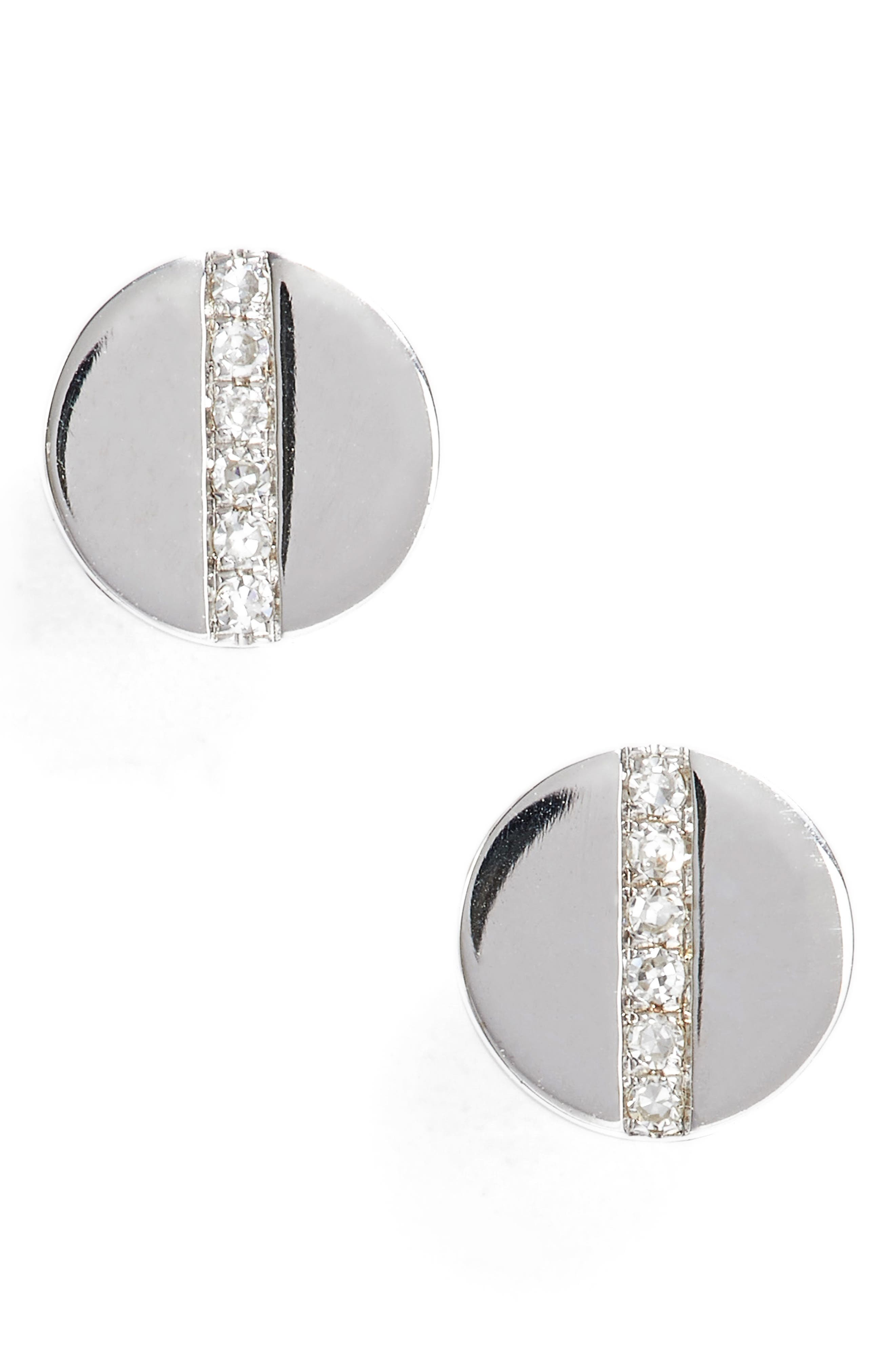 Screw Diamond Stud Earrings,                             Main thumbnail 1, color,                             White Gold