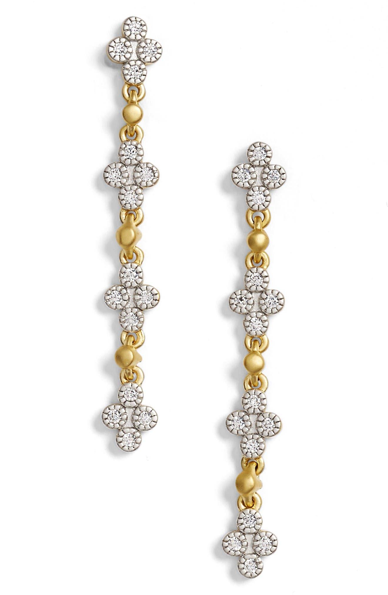 Visionary Fusion Pavé Clover Drop Earrings,                         Main,                         color, Gold