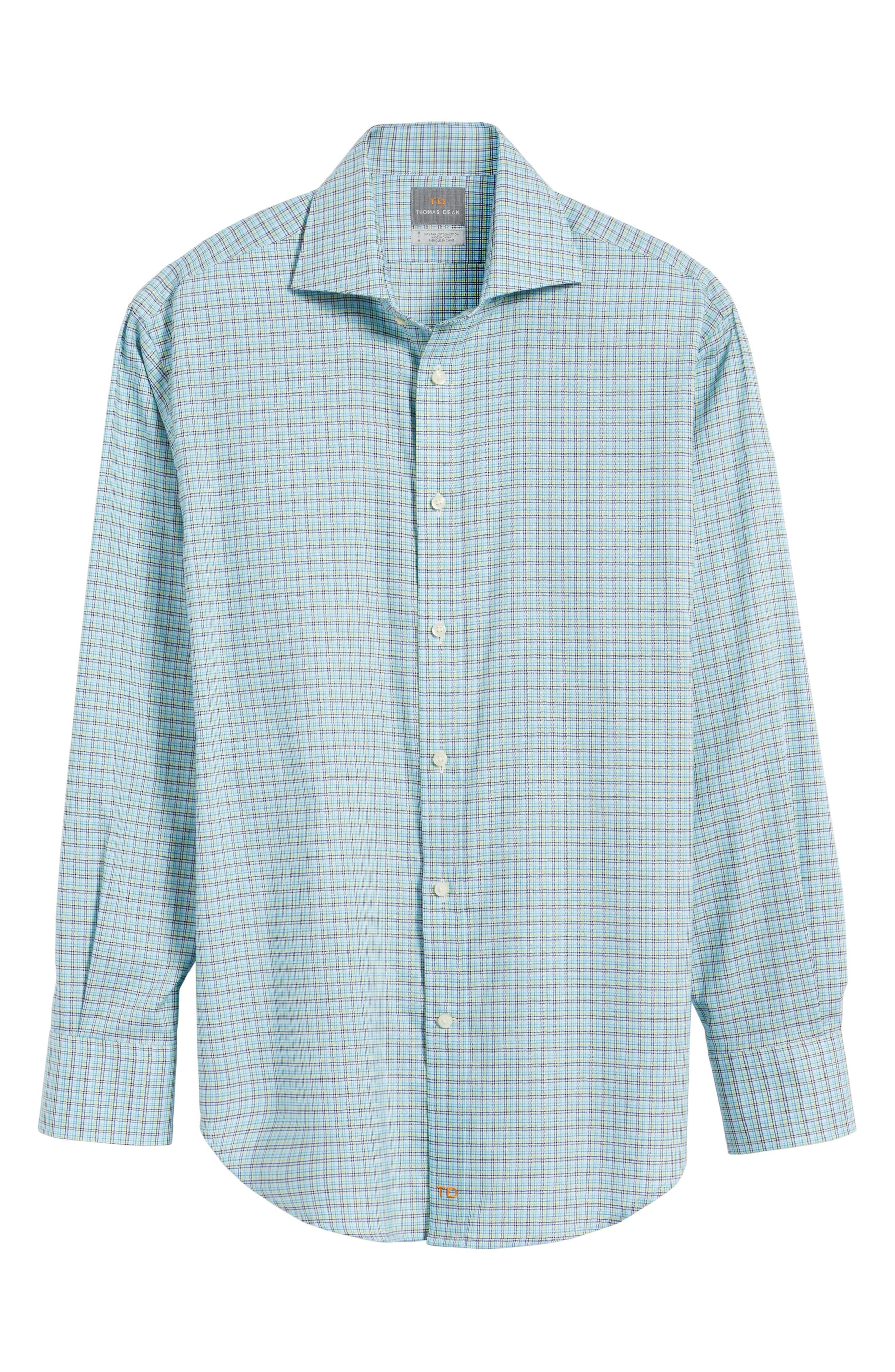 Classic Fit Textured Check Sport Shirt,                             Alternate thumbnail 6, color,                             Aqua