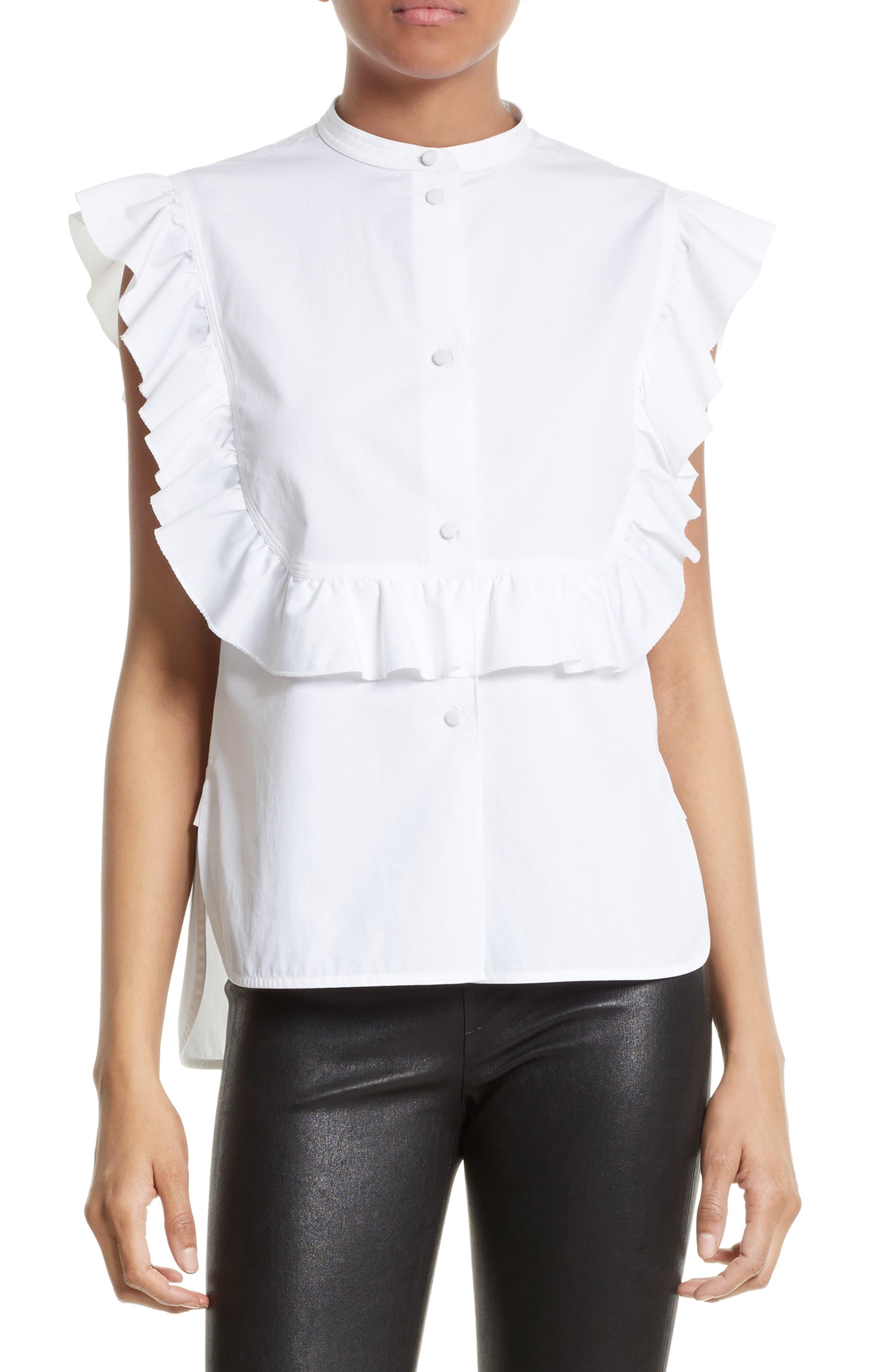Helmut Lang Ruffle Bib Cotton Shirt
