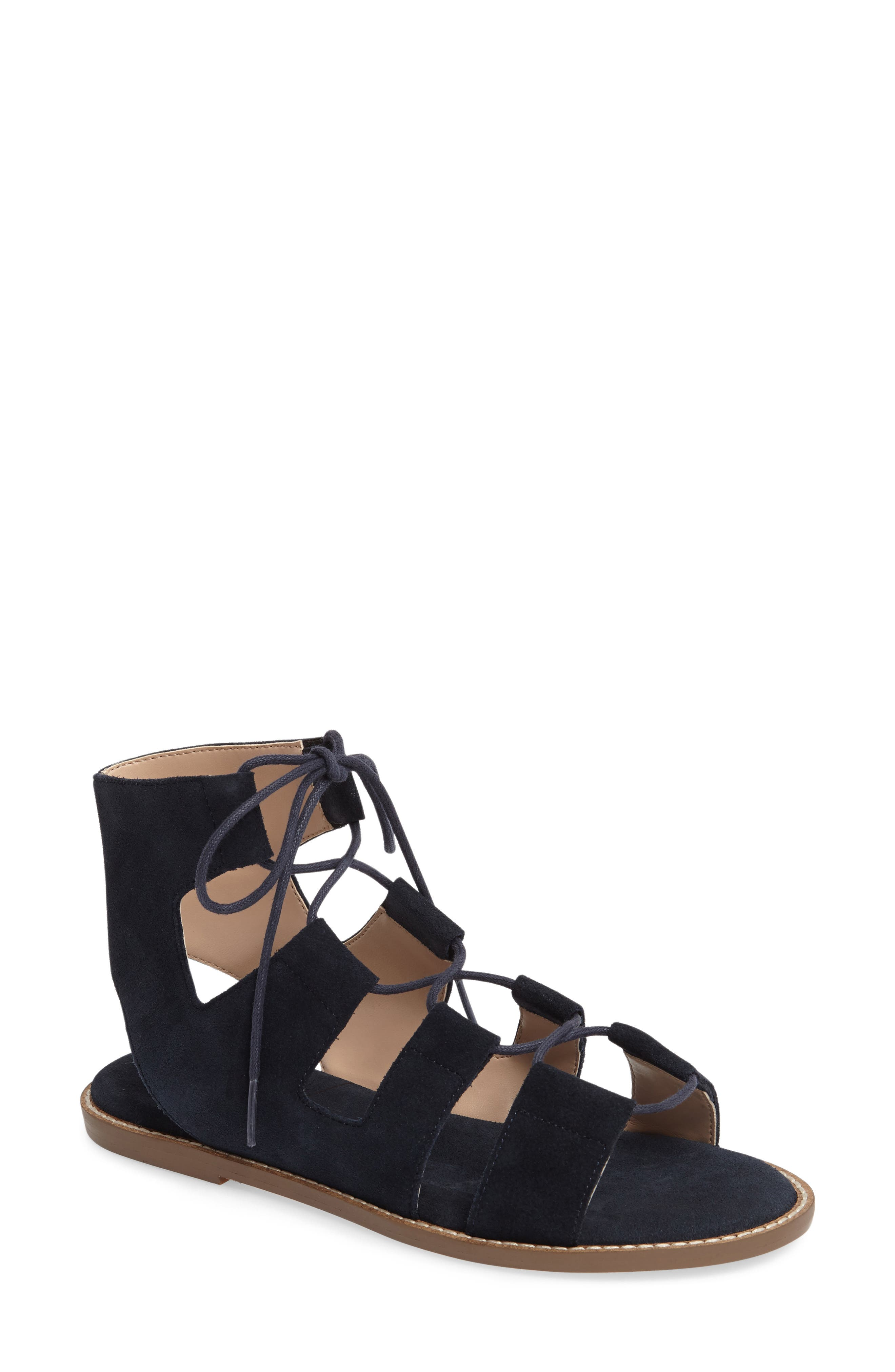 'Cady' Lace-Up Flat Sandal,                             Main thumbnail 1, color,                             Ink Navy Suede
