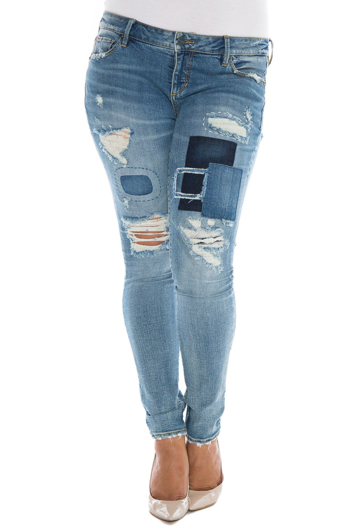 Main Image - SLINK Jeans Destroyed & Patched Skinny Jeans (Hannah) (Plus Size)