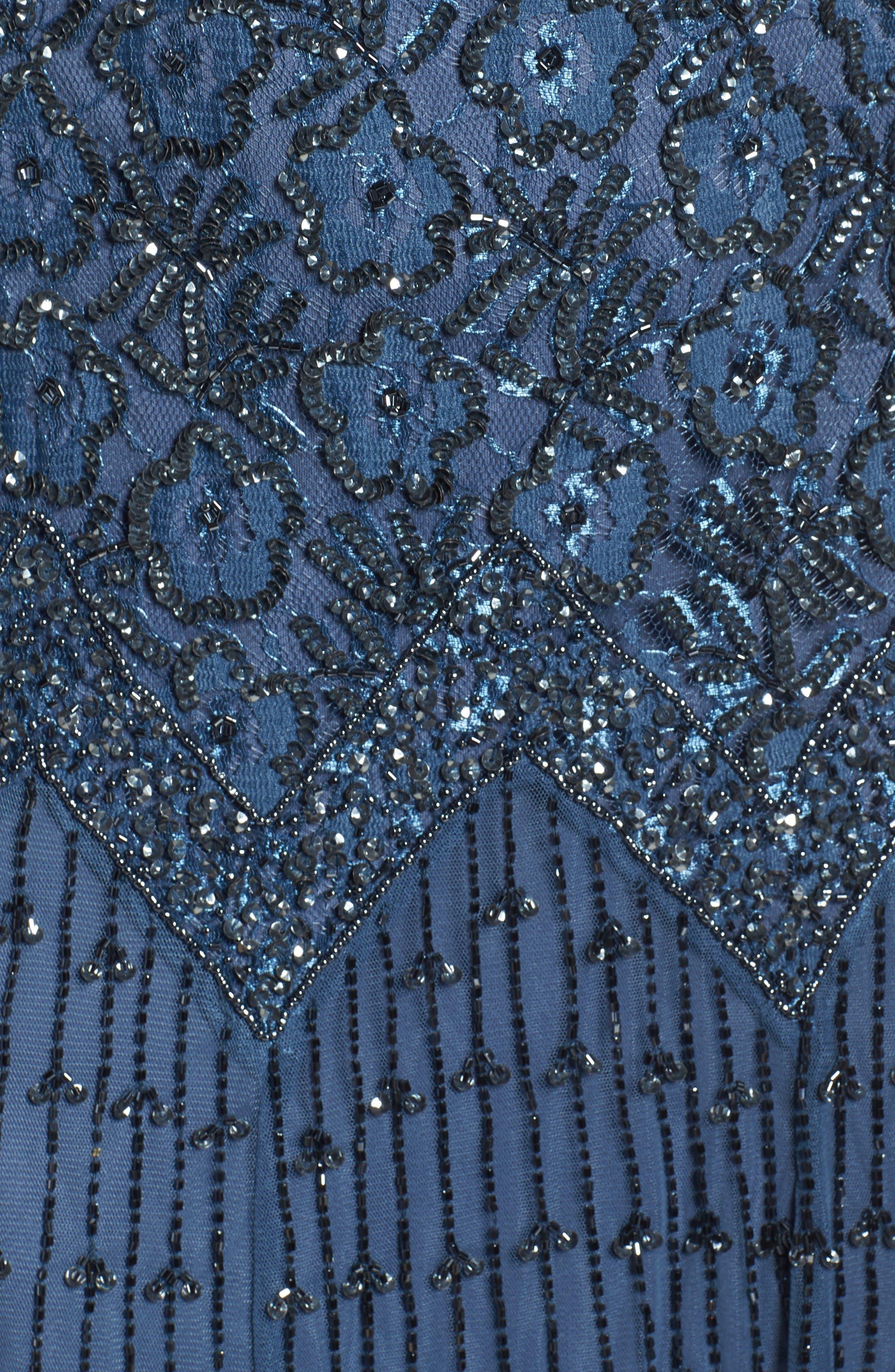 Alternate Image 5  - Pisarro Nights Beaded Mesh Dress (Regular & Petite)