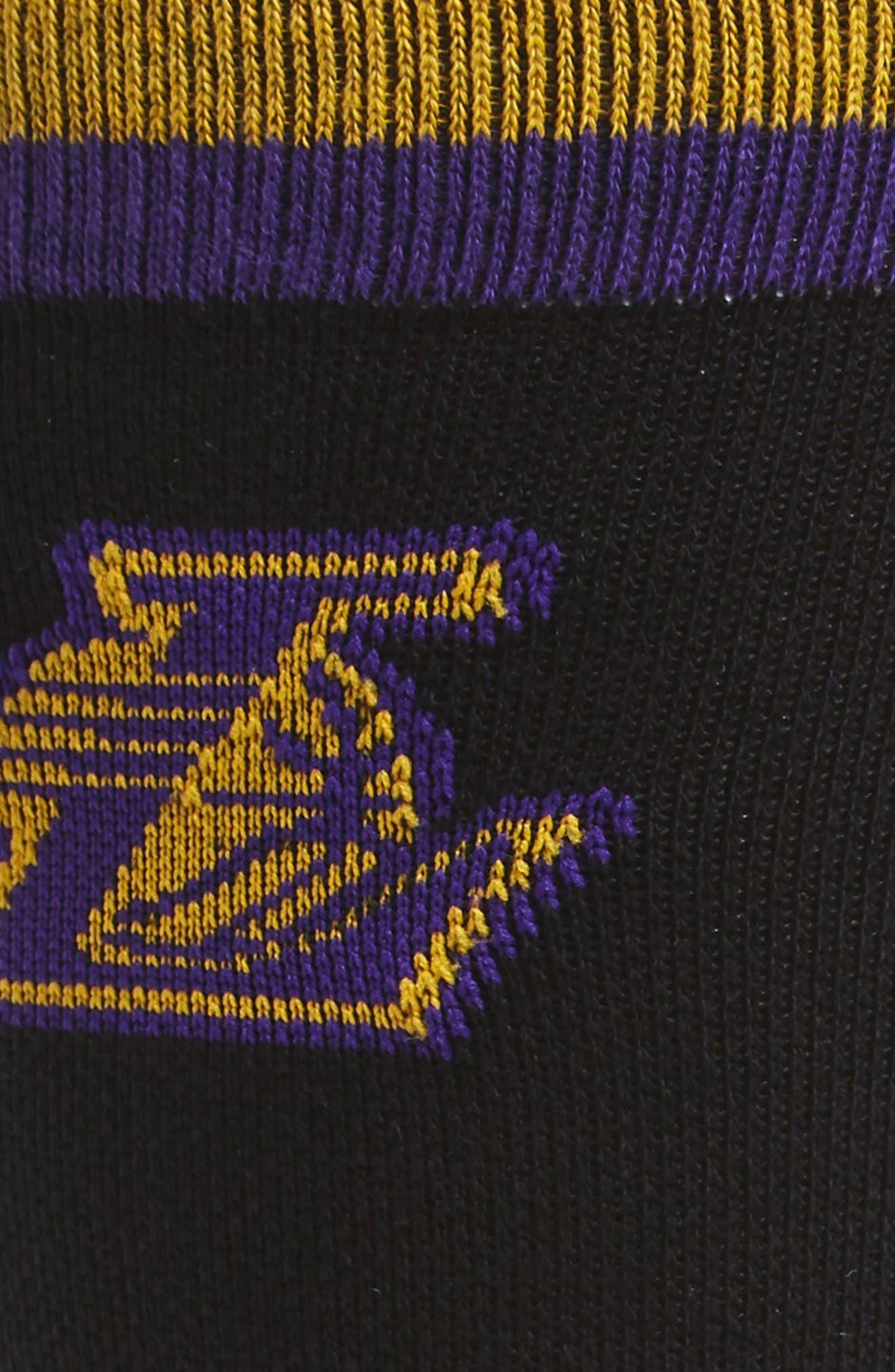 NBA Casual Lakers Logo Socks,                             Alternate thumbnail 2, color,                             Black