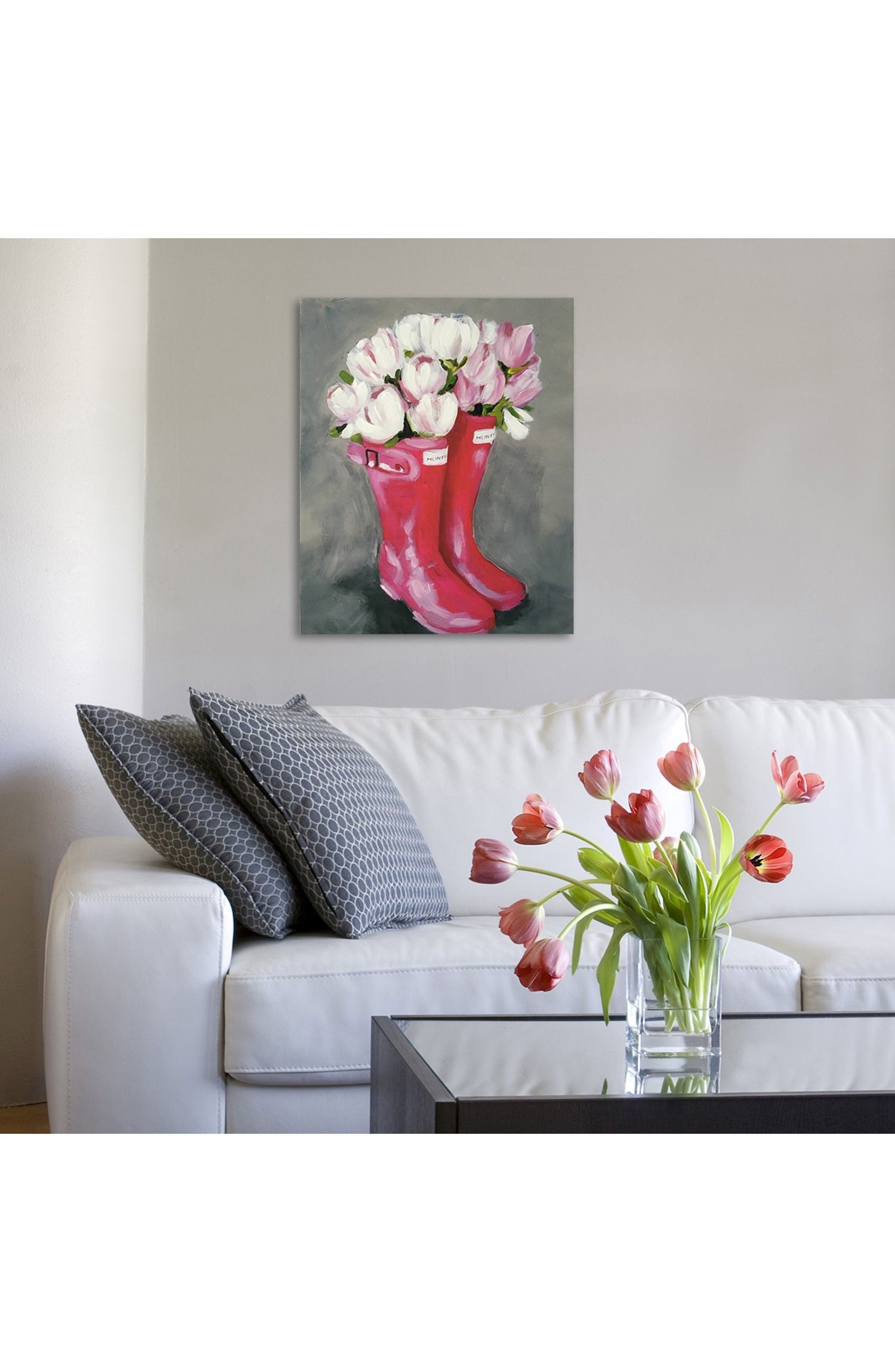 Alternate Image 2  - Oliver Gal Tulips Rain Boots Canvas Wall Art