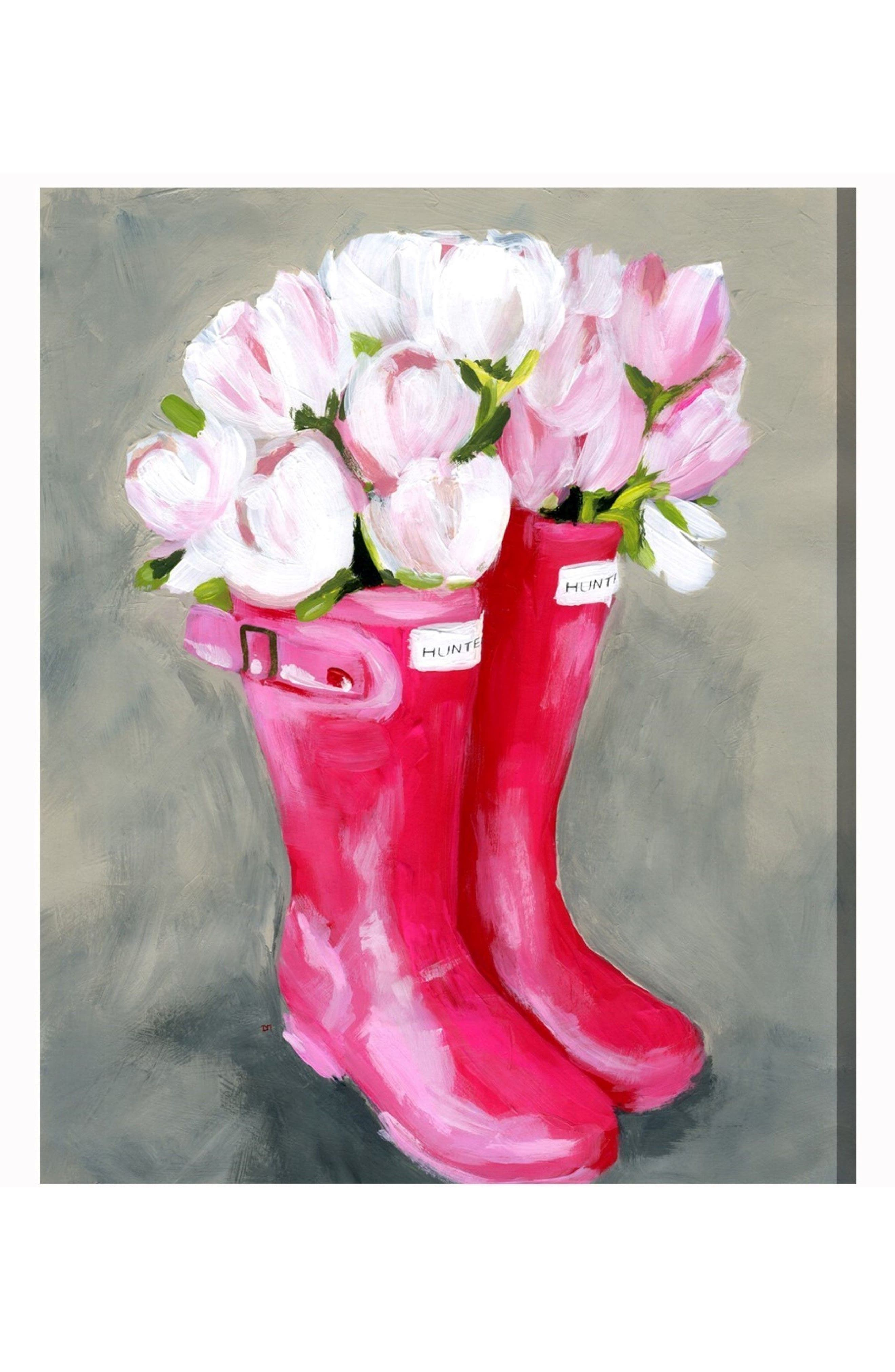 Tulips Rain Boots Canvas Wall Art,                         Main,                         color, Grey