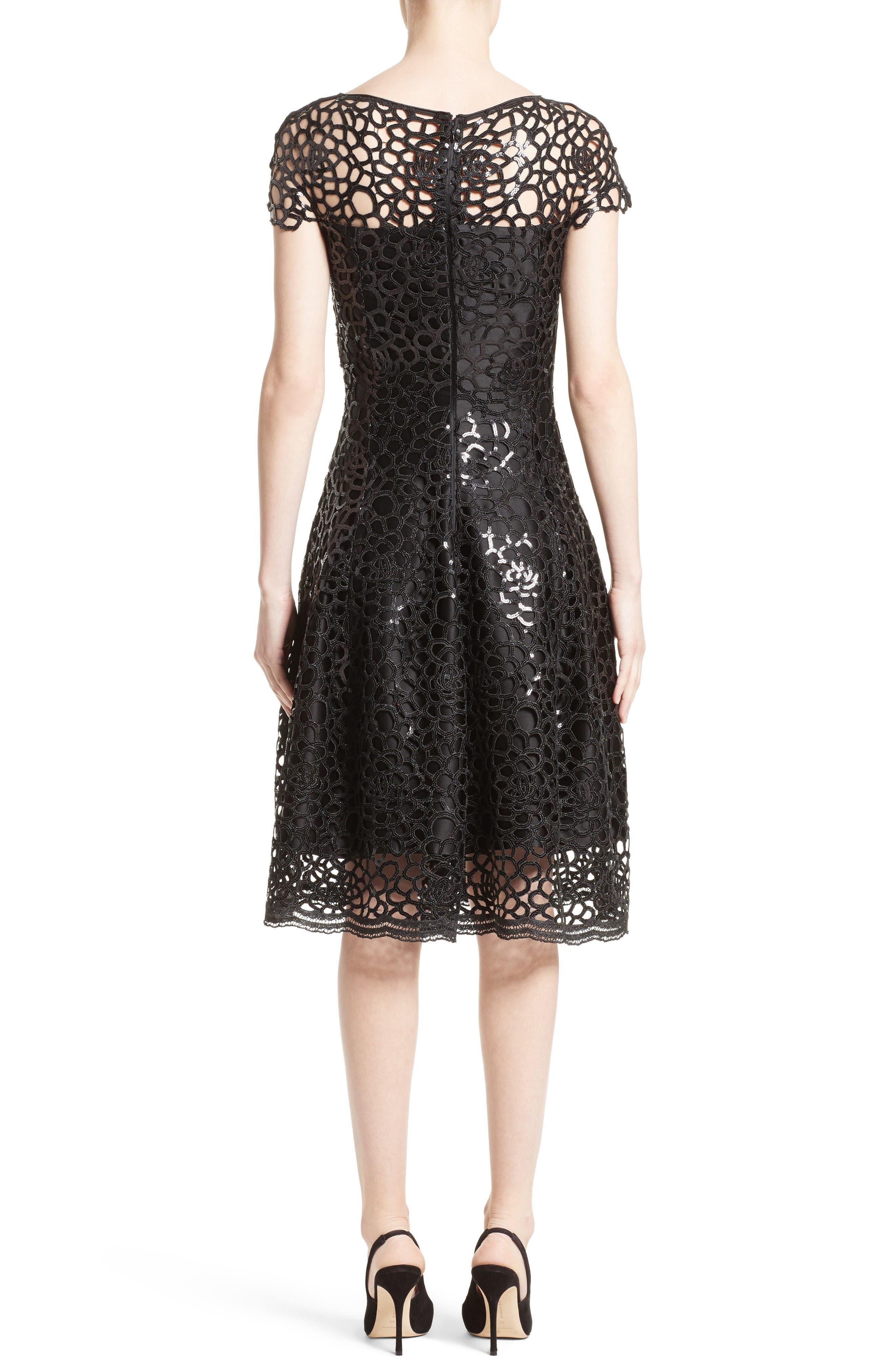 Sequin Cutout Fit & Flare Dress,                             Alternate thumbnail 2, color,                             Black