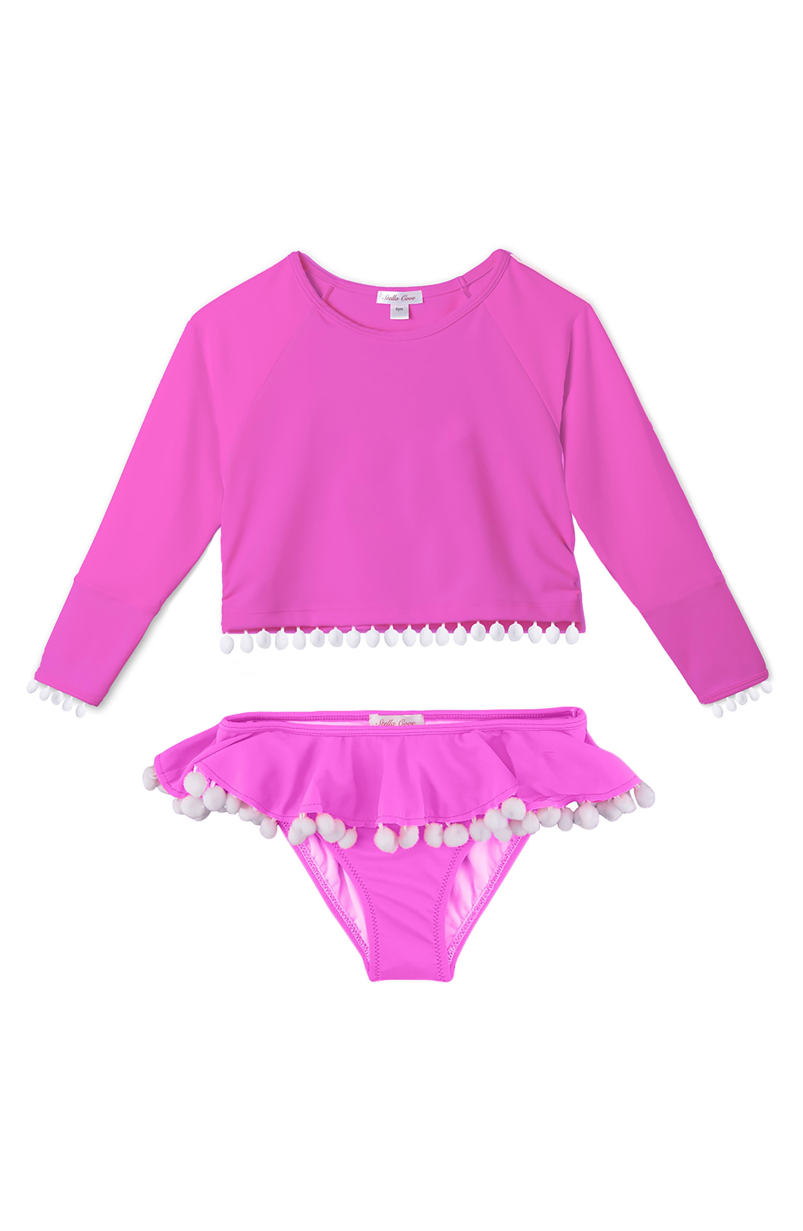 Pompom Rashguard Two-Piece Swimsuit,                         Main,                         color, Neon Pink