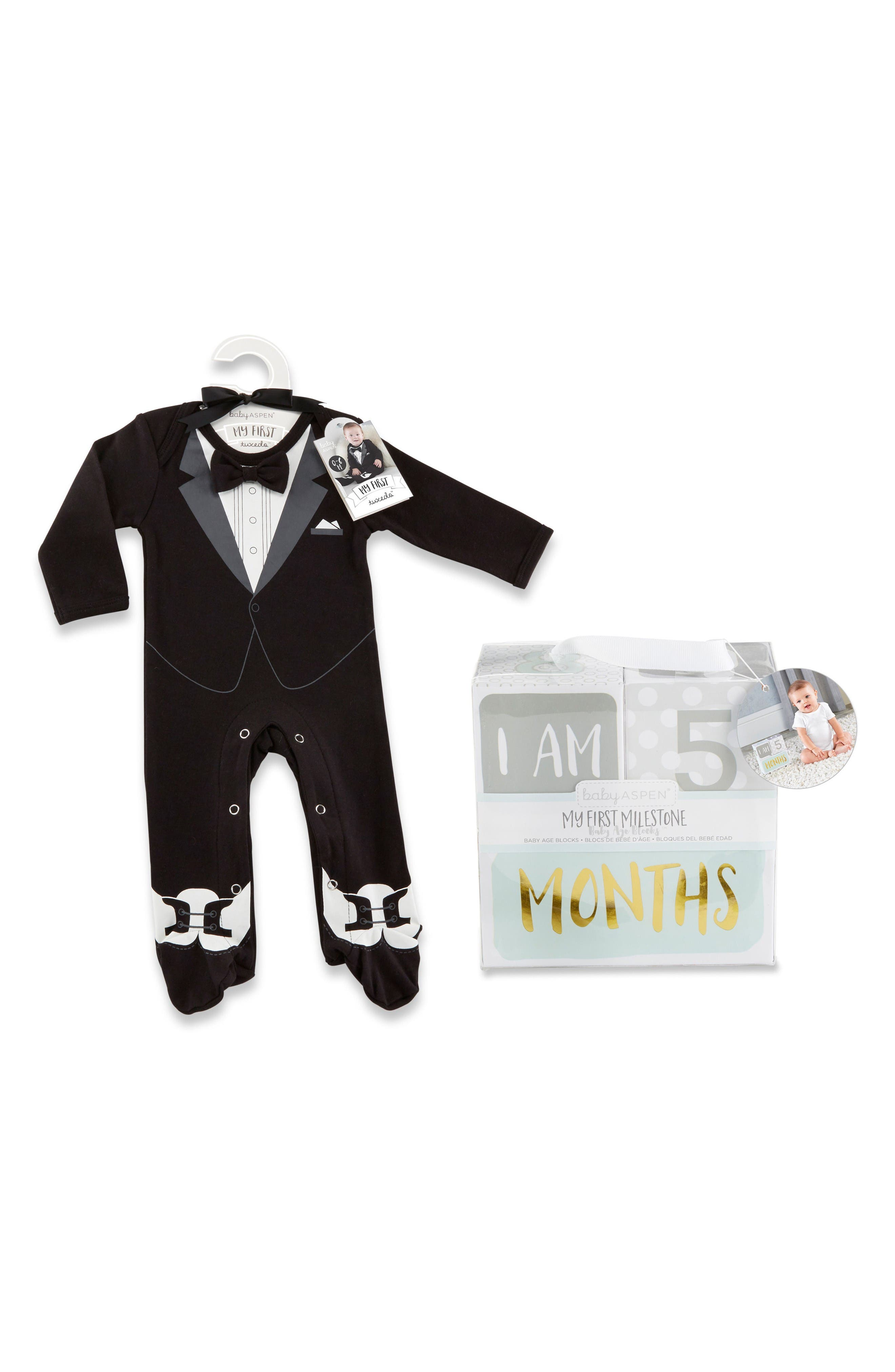 Main Image - Baby Aspen My First Tuxedo Footie & Milestone Blocks Set