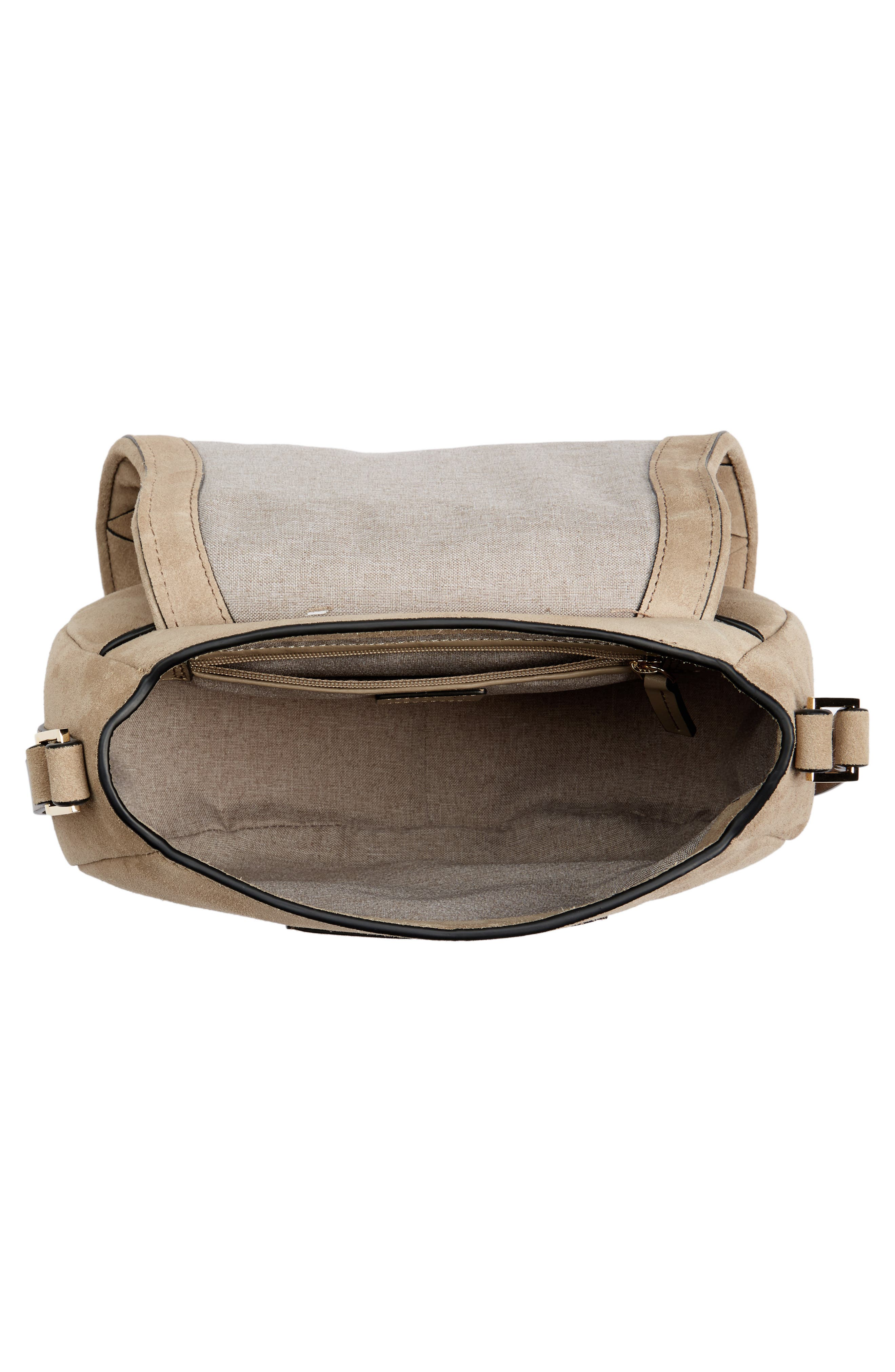 Escapade Suede Saddle Bag,                             Alternate thumbnail 4, color,                             Desert Taupe