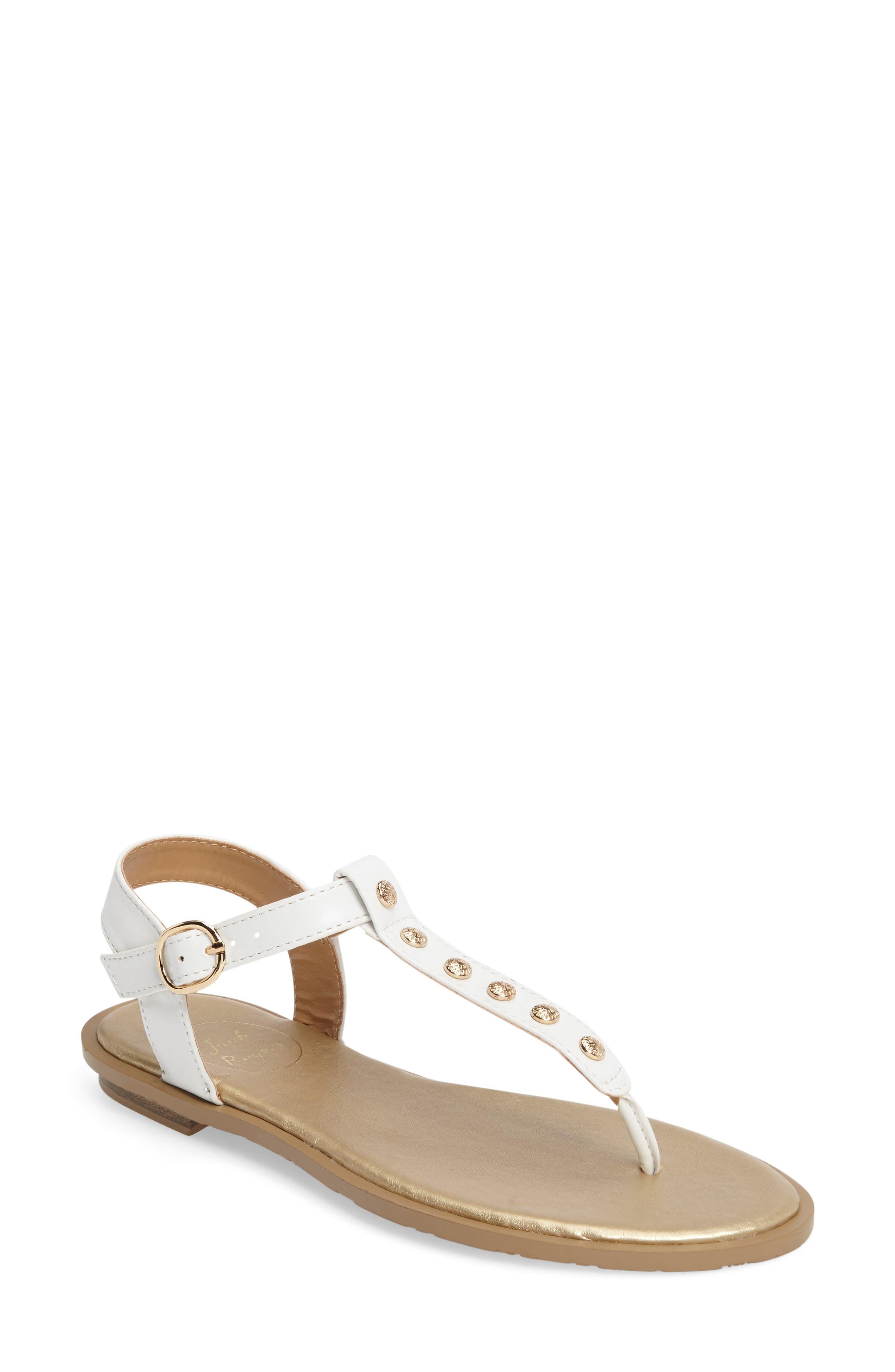 Kamri T-Strap Sandal,                         Main,                         color, White Leather