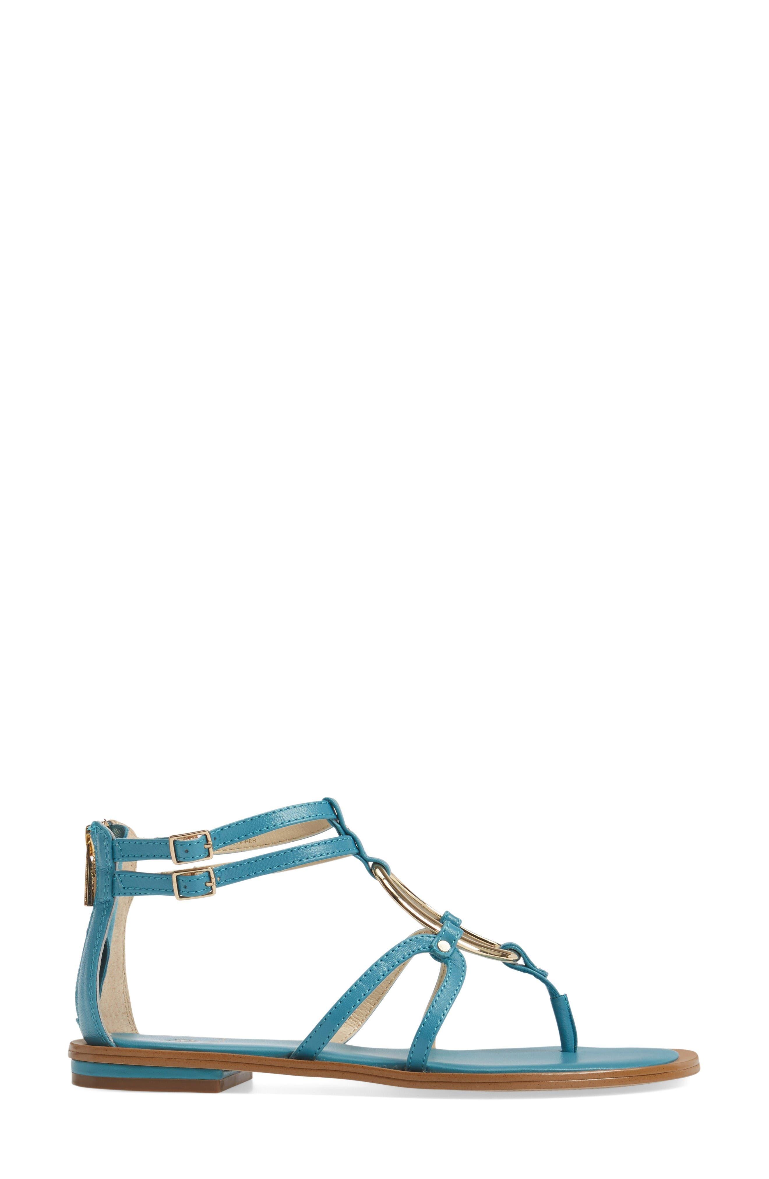 Melaney Sandal,                             Alternate thumbnail 3, color,                             Aqua Leather