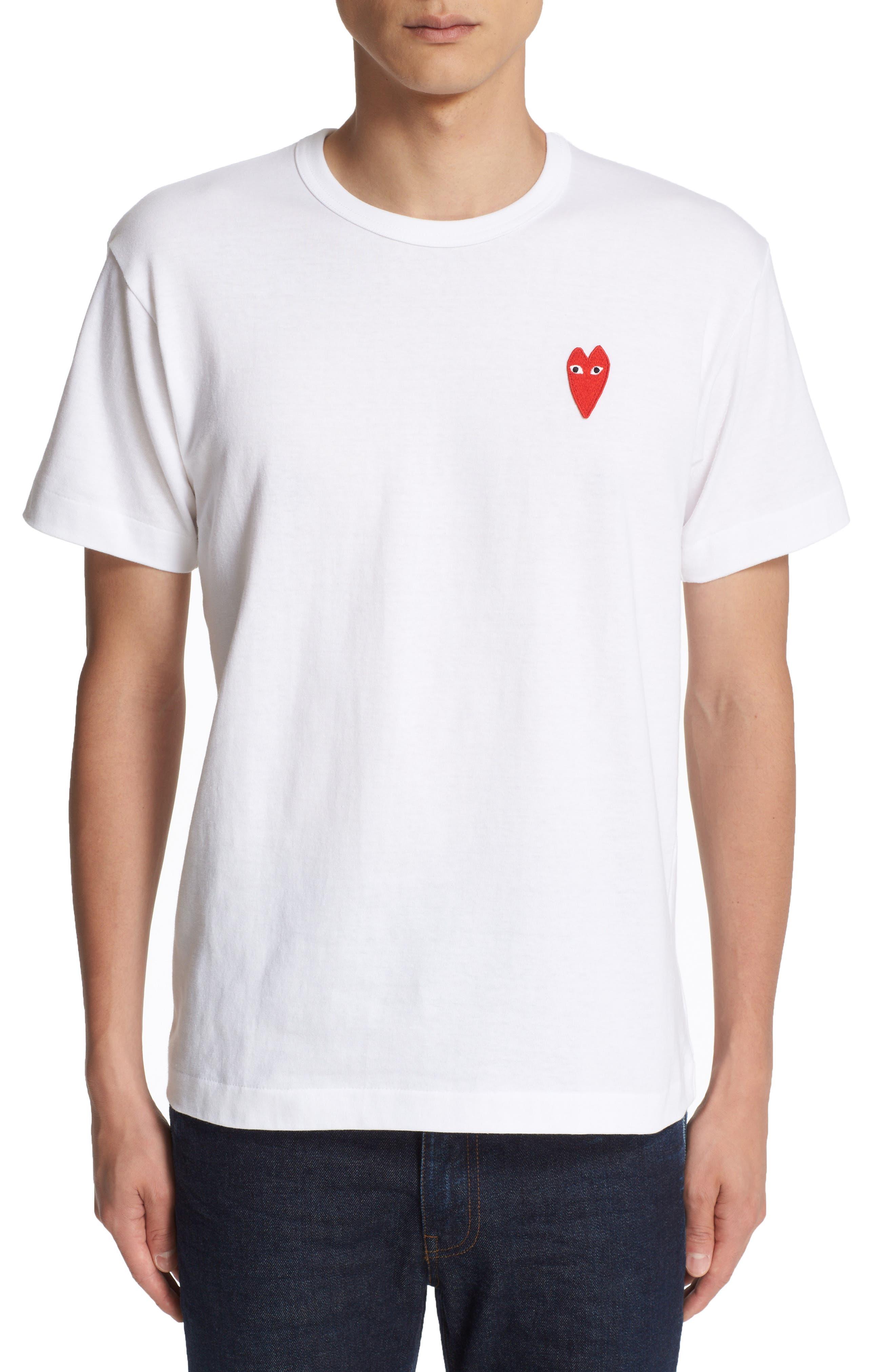 Comme des Garçons Play Stretch Face Heart T-Shirt,                             Main thumbnail 1, color,                             White