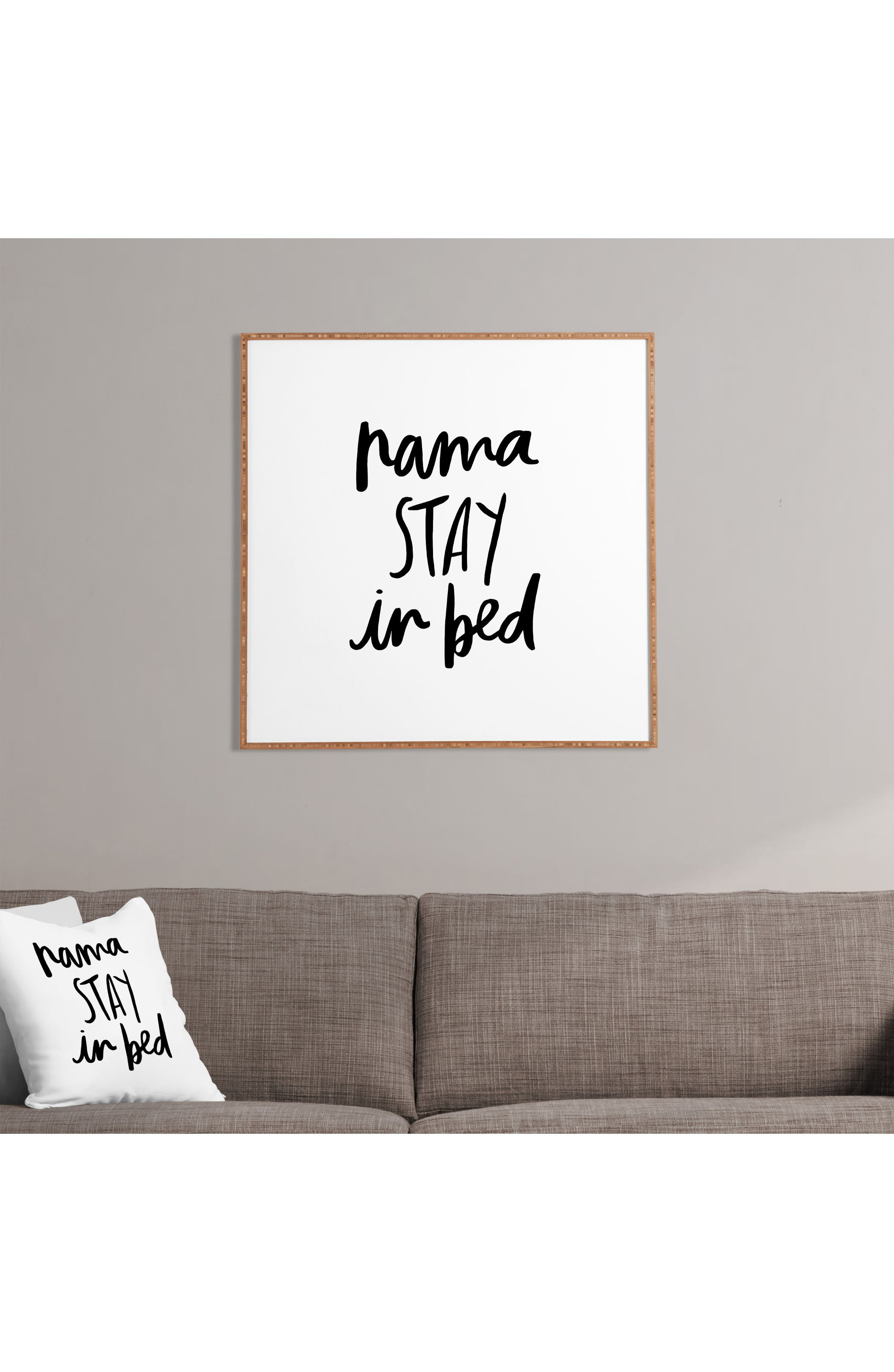 Namastay In Bed Framed Wall Art,                             Alternate thumbnail 2, color,                             White
