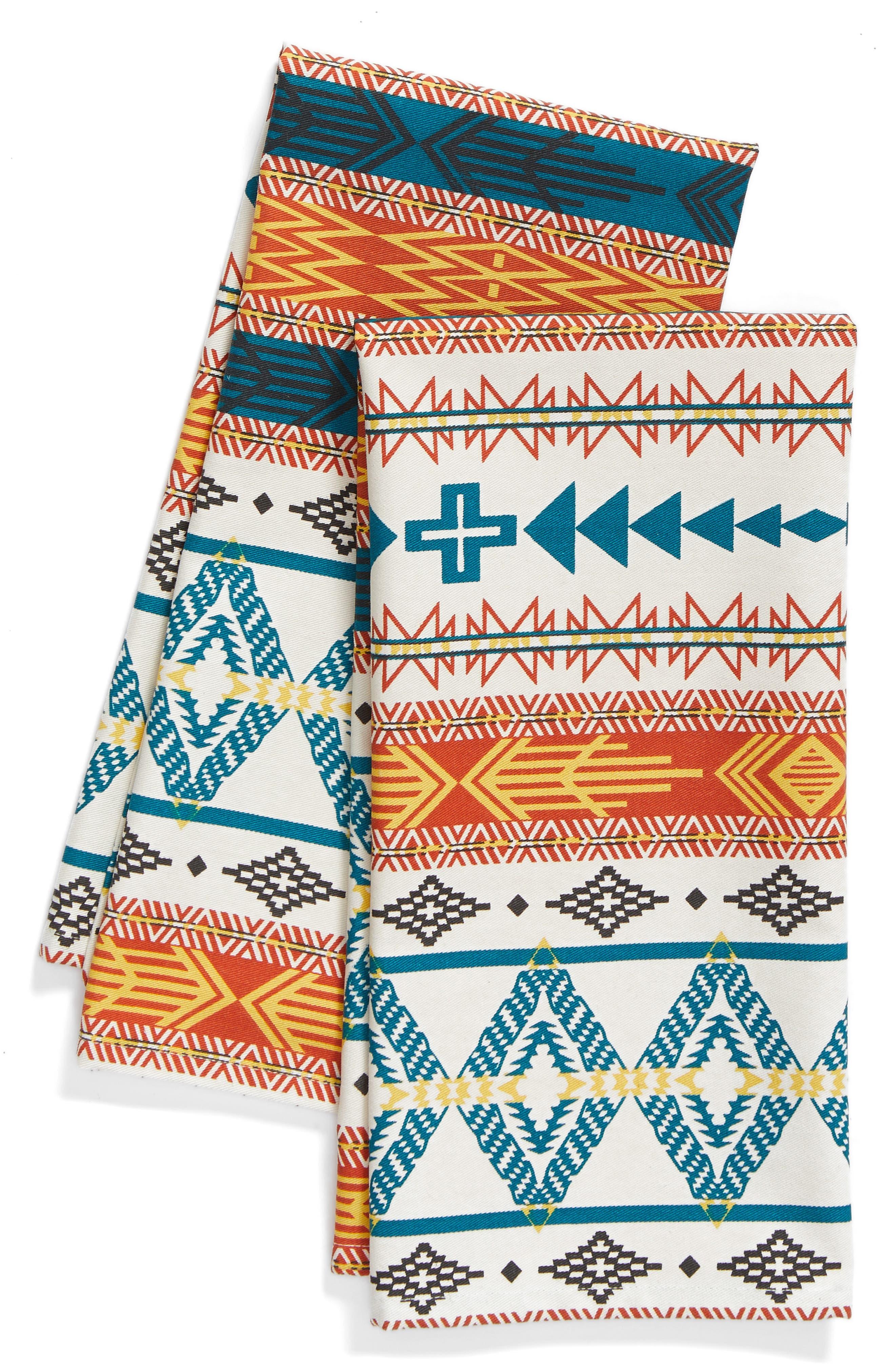 Bright Mesa Set of 2 Dish Towels,                         Main,                         color, Ivory/ Multi