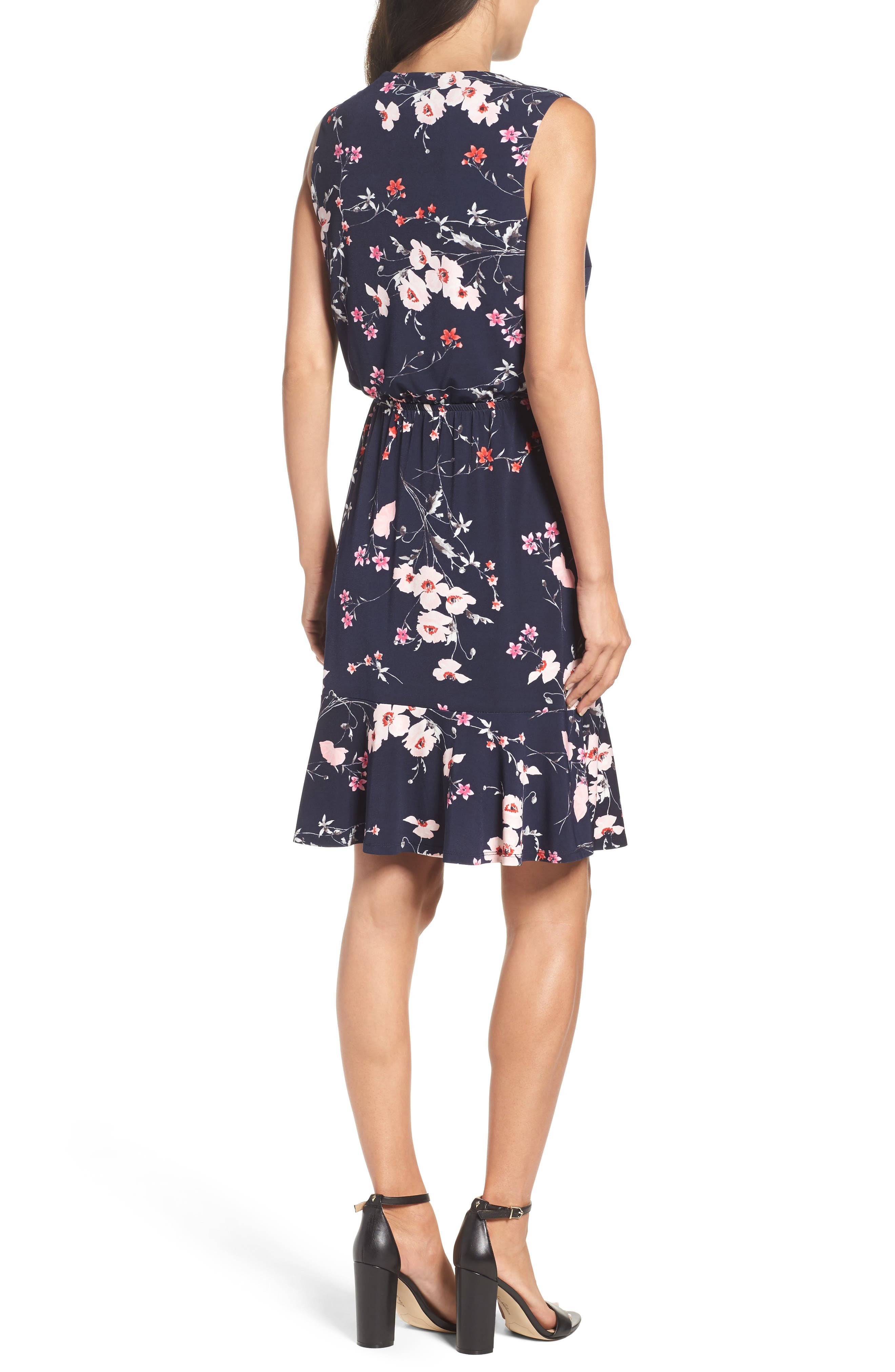 Print Surplice Dress,                             Alternate thumbnail 2, color,                             Navy/ Pink