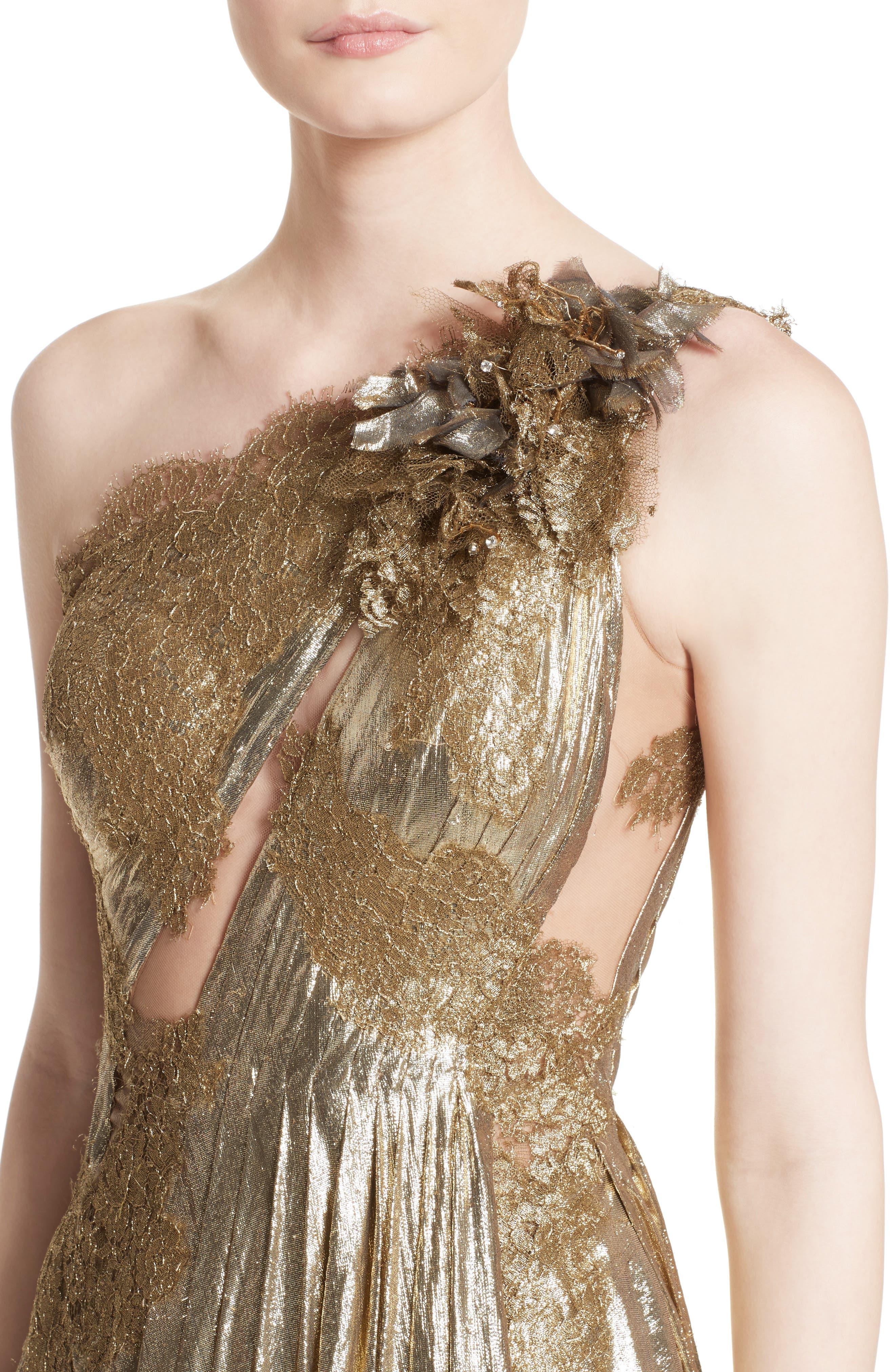 Alternate Image 5  - Marchesa Metallic Lace & Lamé One-Shoulder Gown