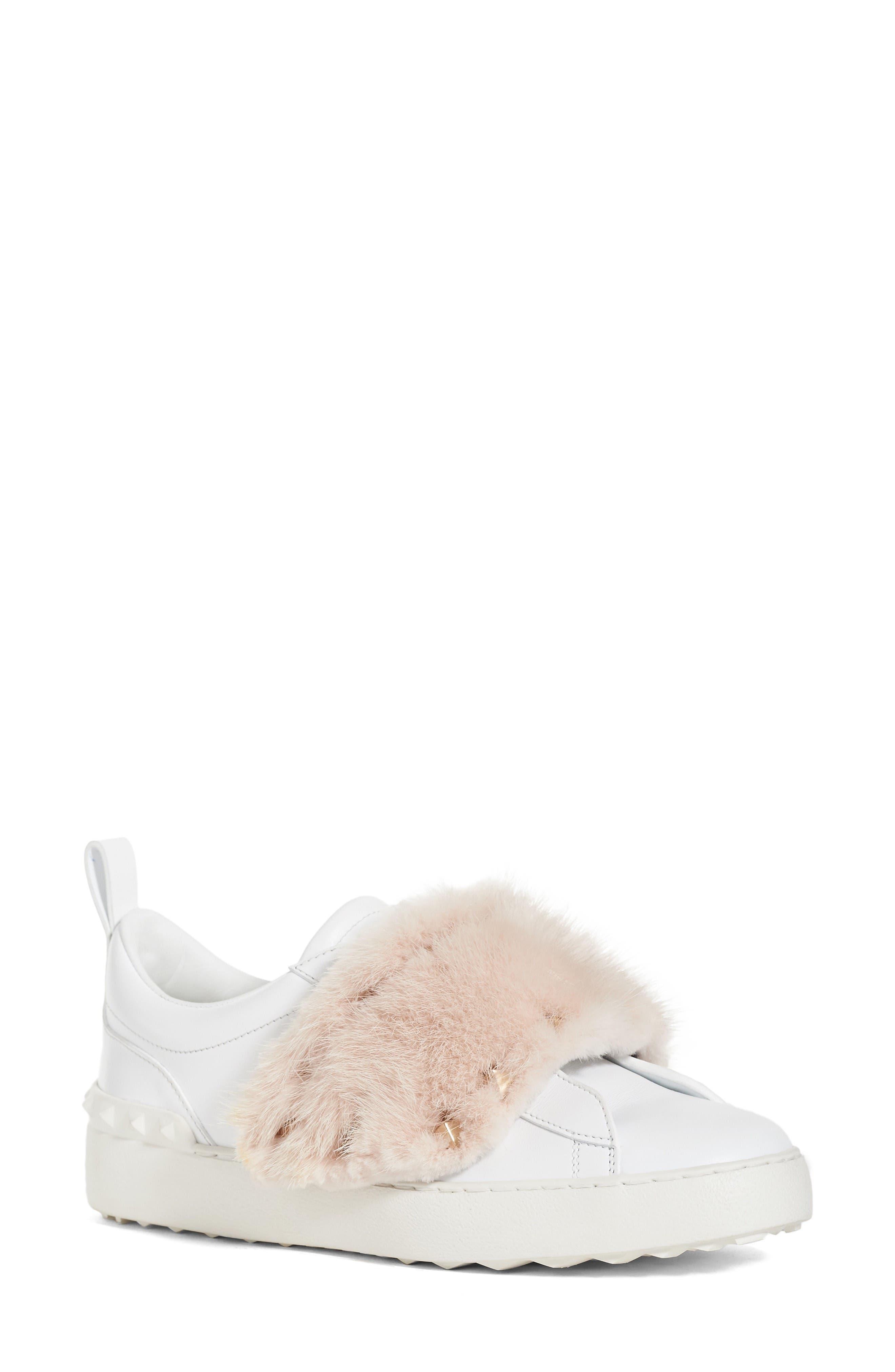 VALENTINO GARAVANI Rockstud Genuine Mink Fur Sneaker