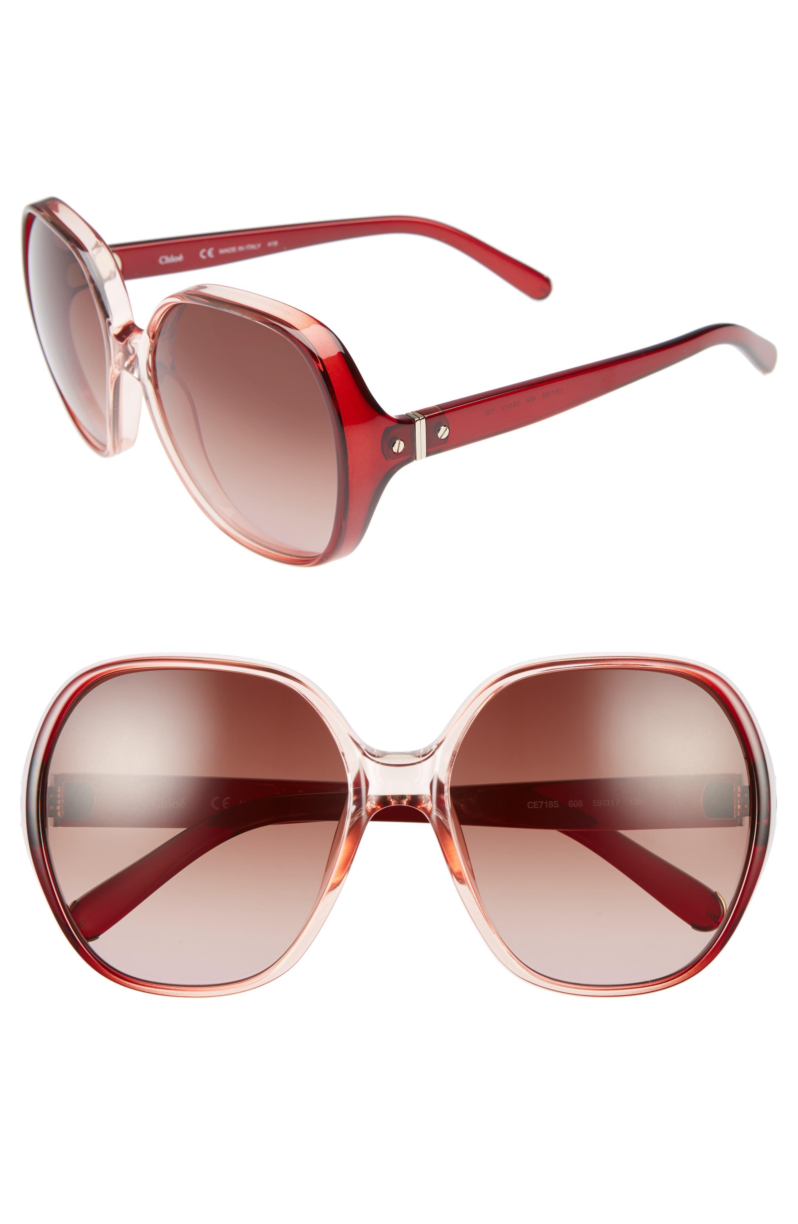 CHLOÉ Misha 59mm Gradient Round Retro Sunglasses