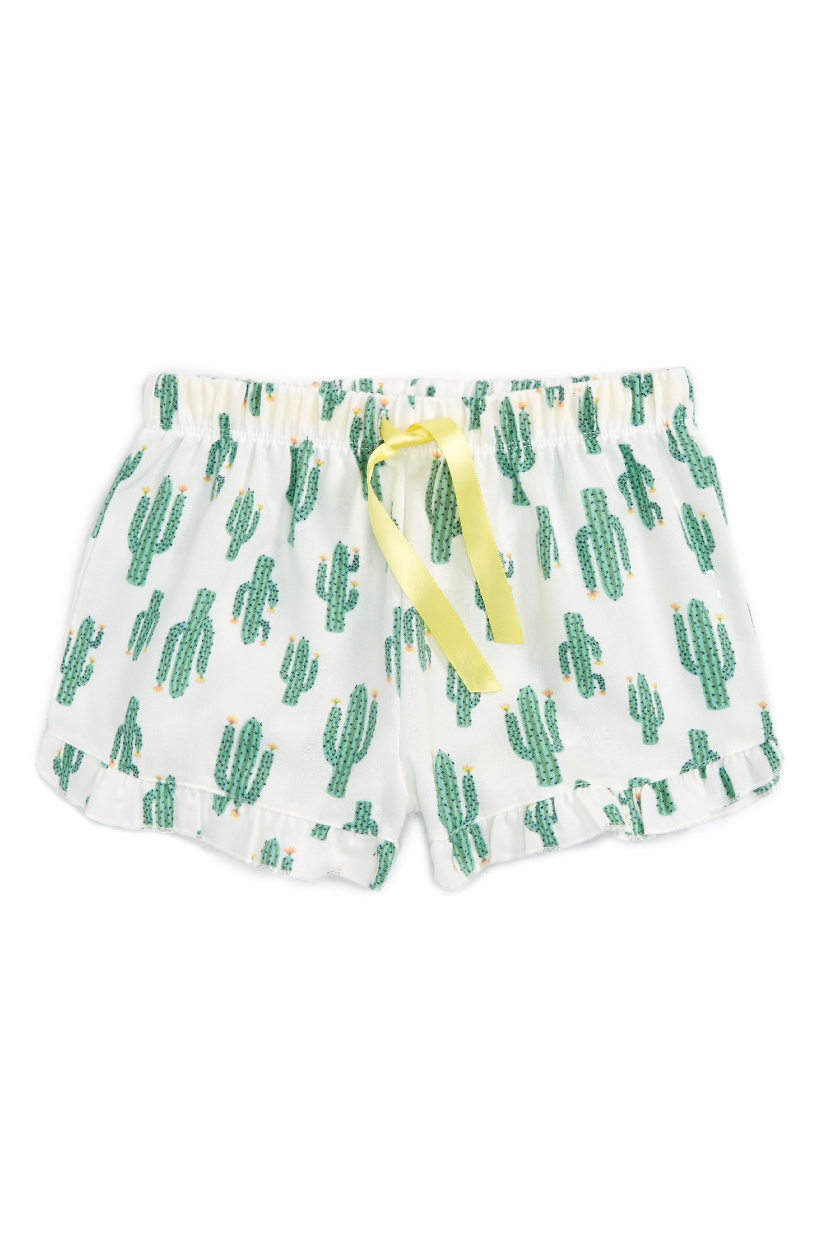 Flannel Shorts,                         Main,                         color, Ivory Egret Cactus