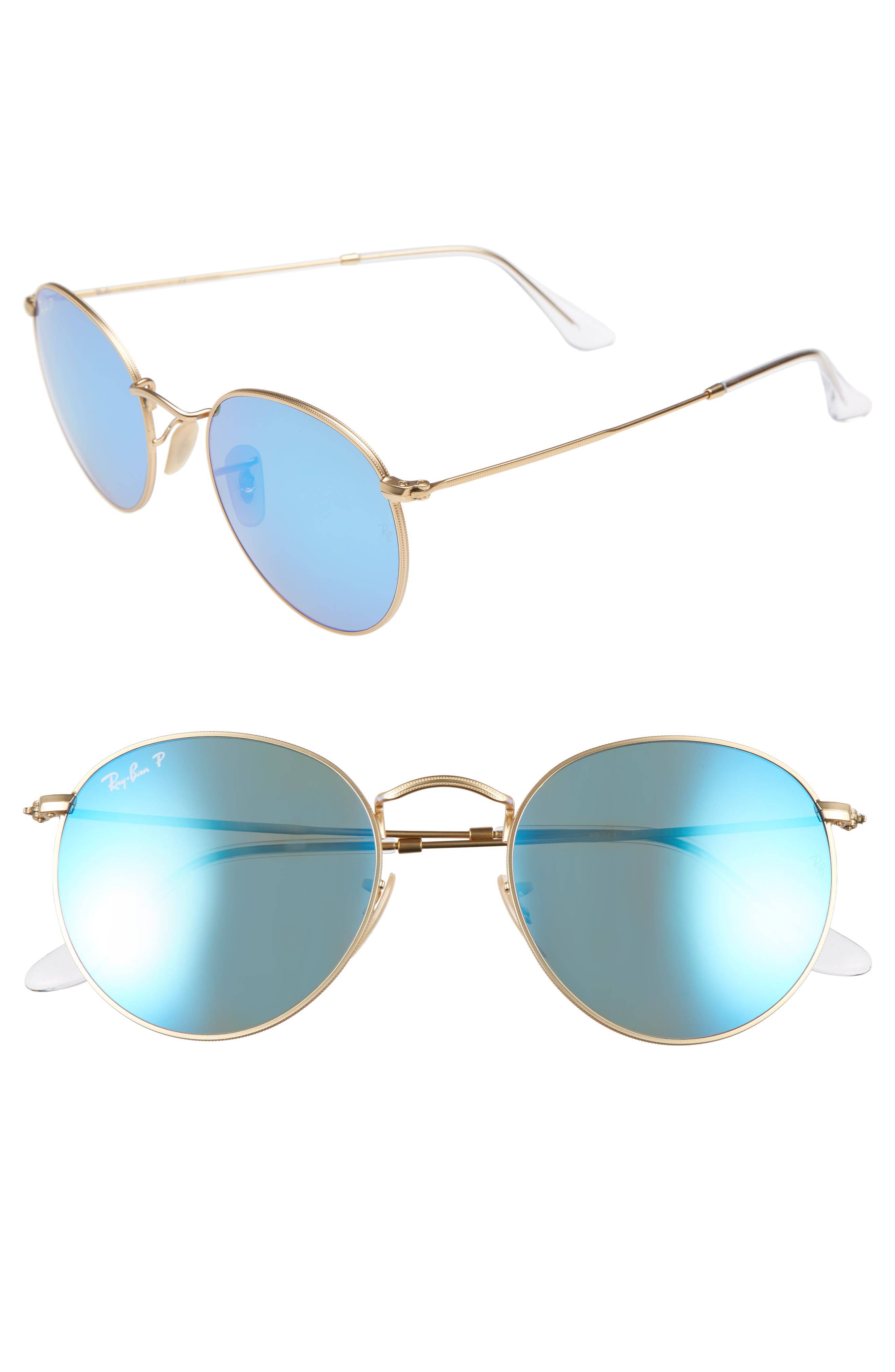 53mm Polarized Round Retro Sunglasses,                         Main,                         color, Blue Mirror