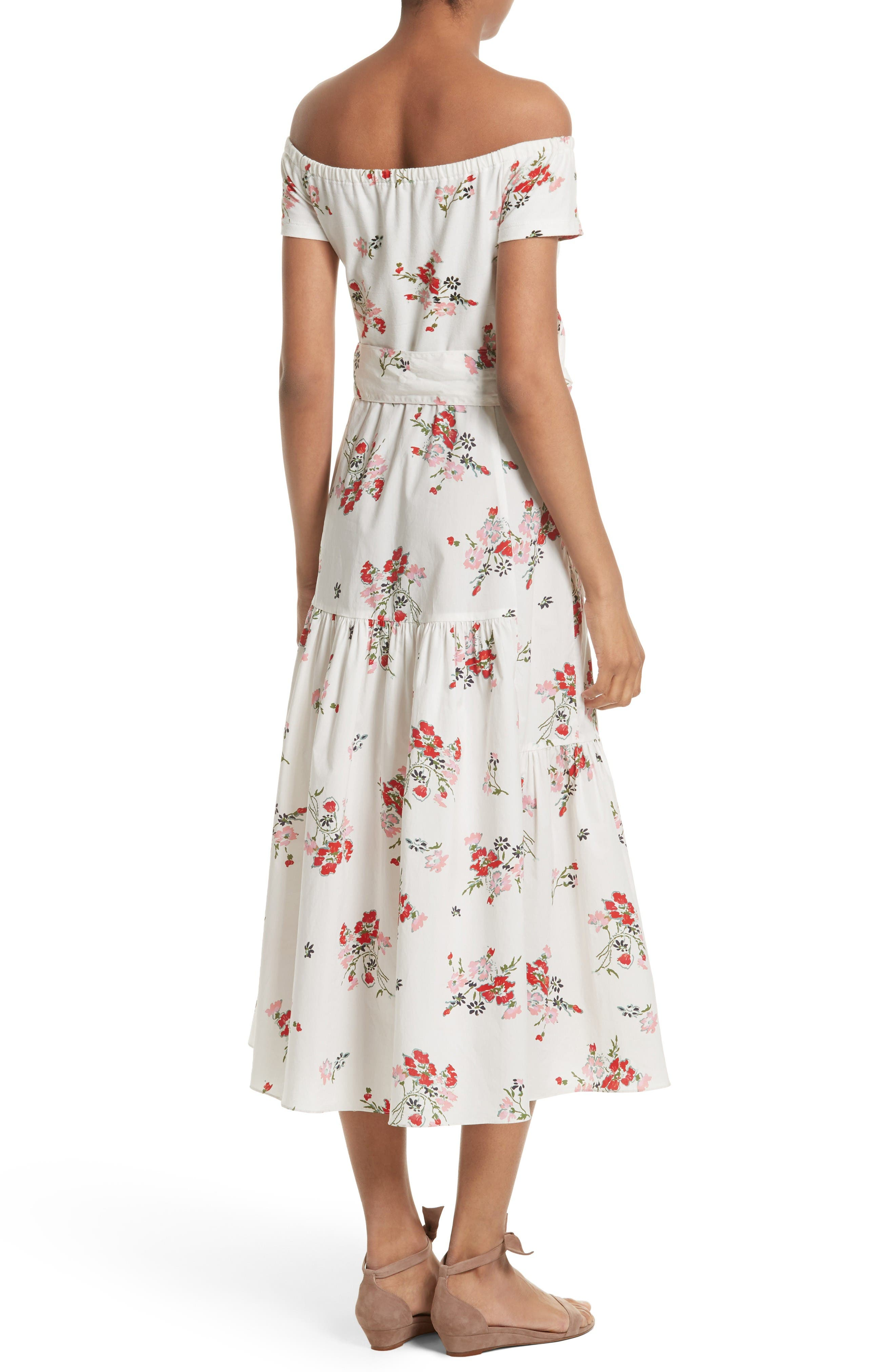 Marguerite Floral Off the Shoulder Midi Dress,                             Alternate thumbnail 3, color,                             Snow