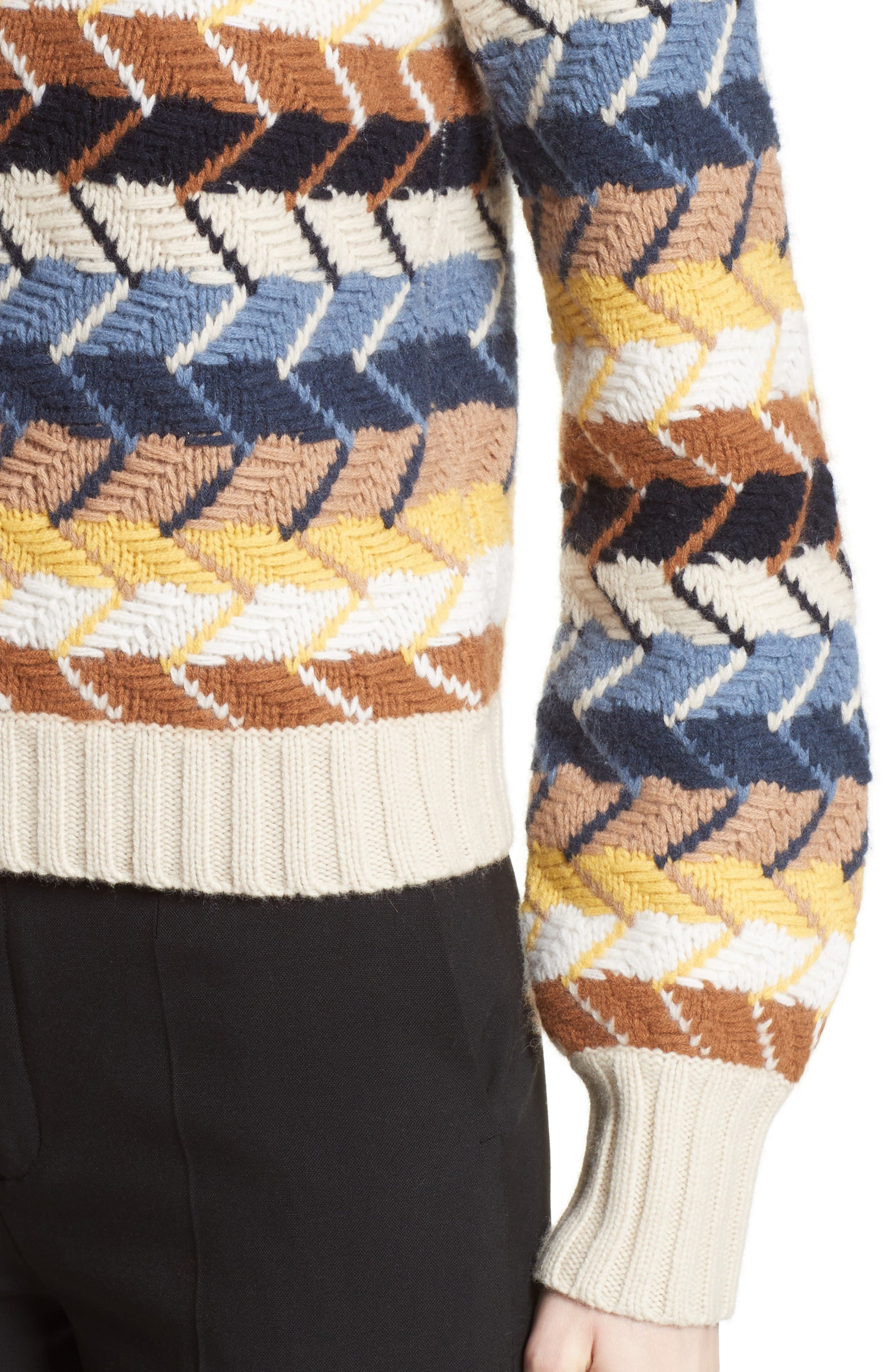 Herringbone Wool & Cashmere Turtleneck Sweater,                             Alternate thumbnail 6, color,                             Multicolor Blue