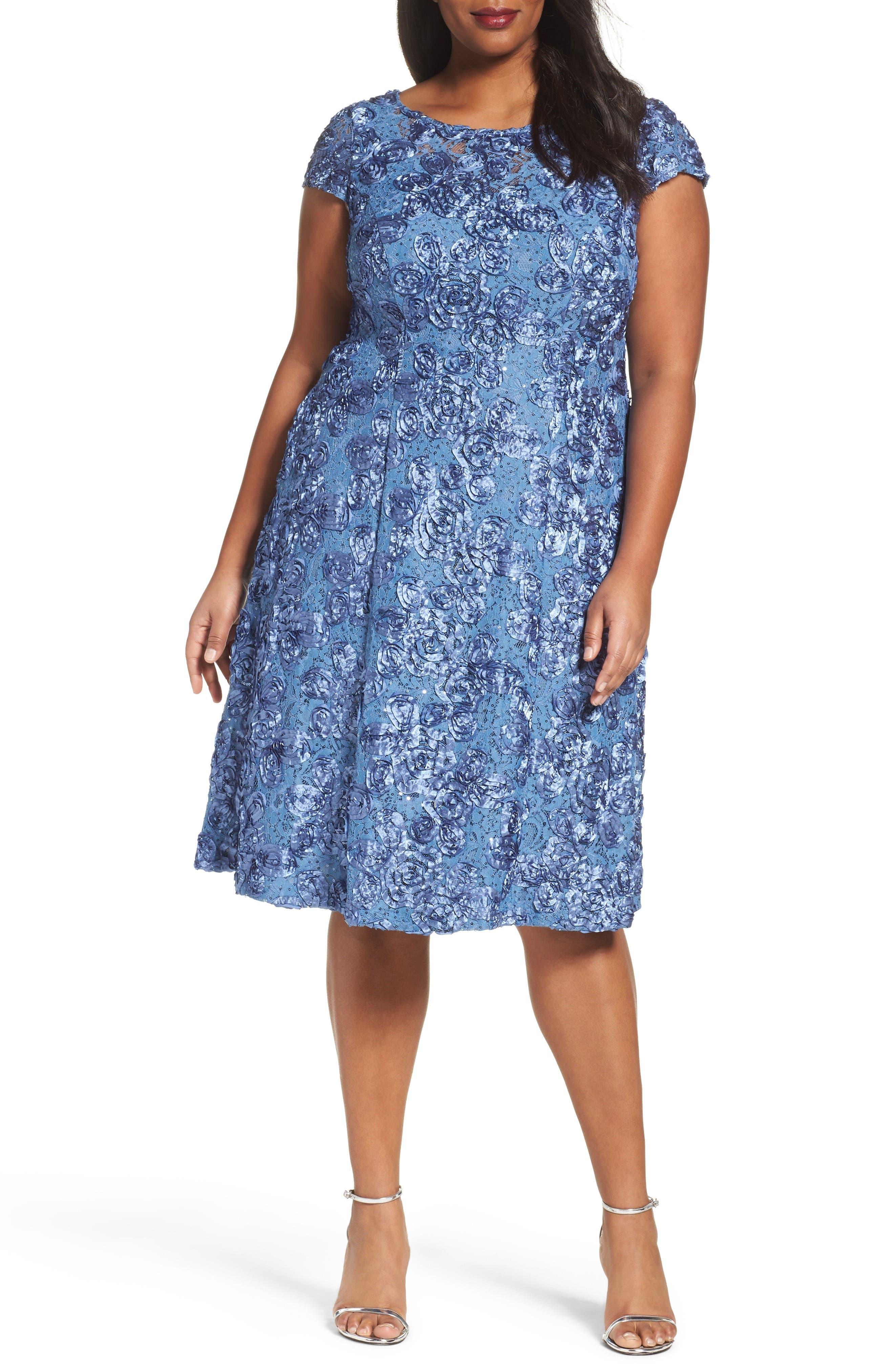 Rosette Fit & Flare Dress,                         Main,                         color, Brush Periwinkle