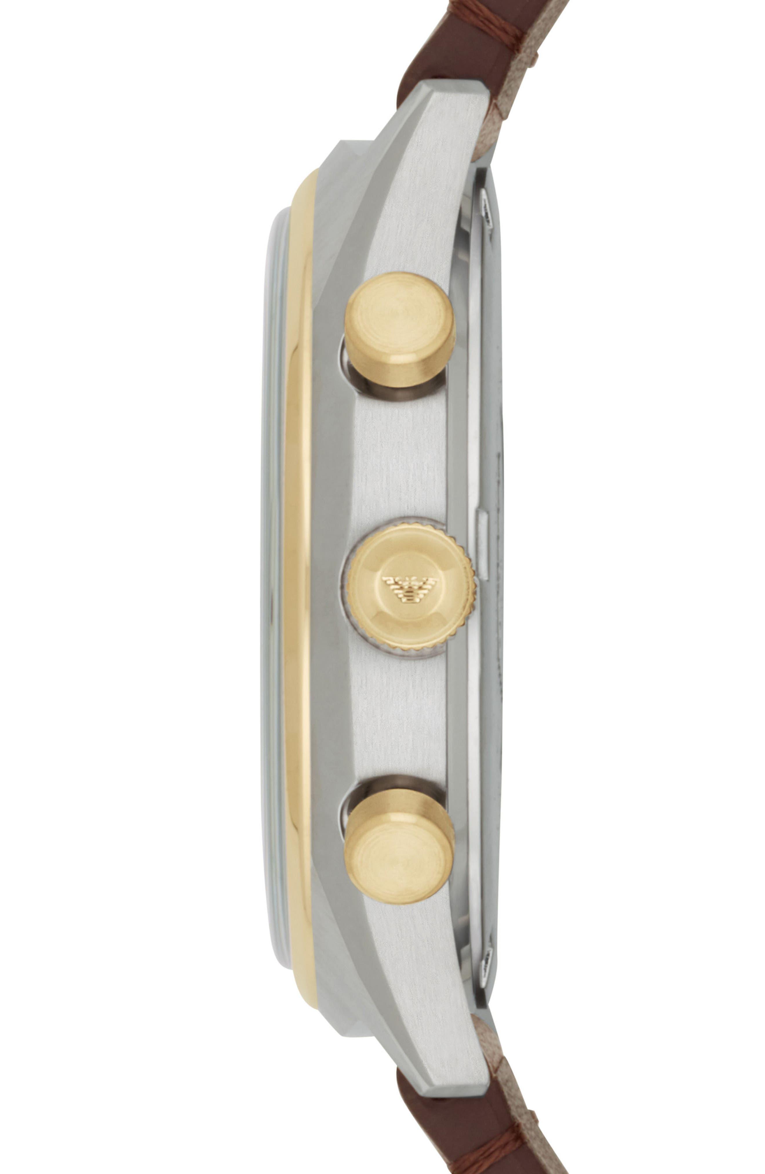 Alternate Image 3  - Emporio Armani Chronograph Leather Strap Watch, 44mm